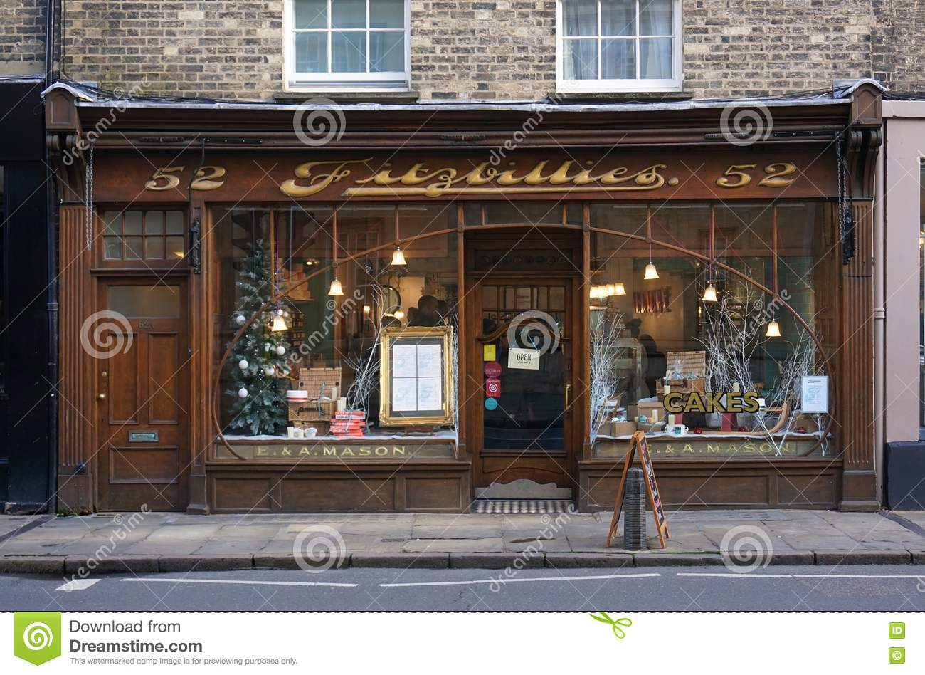 Cafe window front cambridge england with christmas