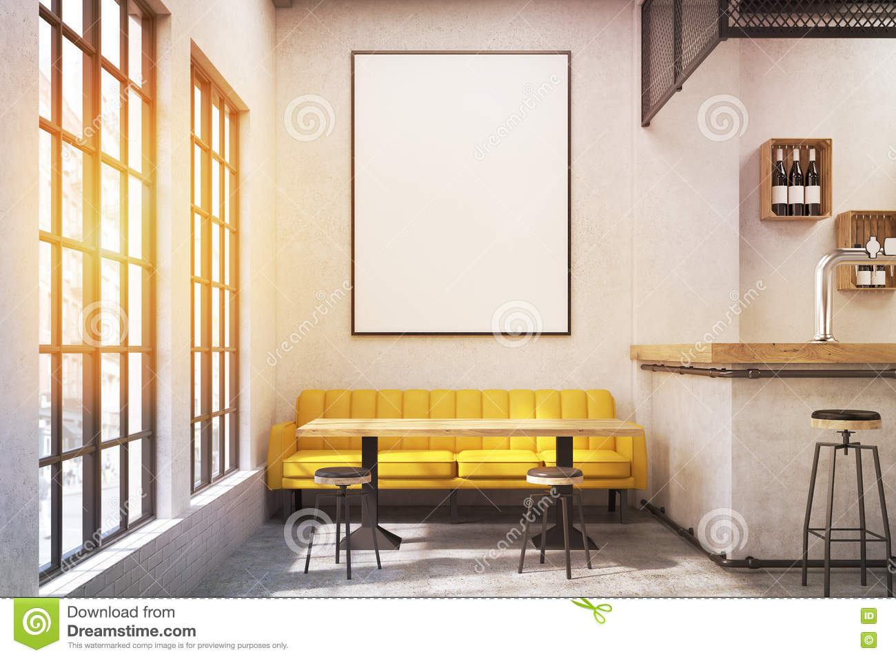 cafe with a yellow sofa, toned stock illustration - image: 82644380