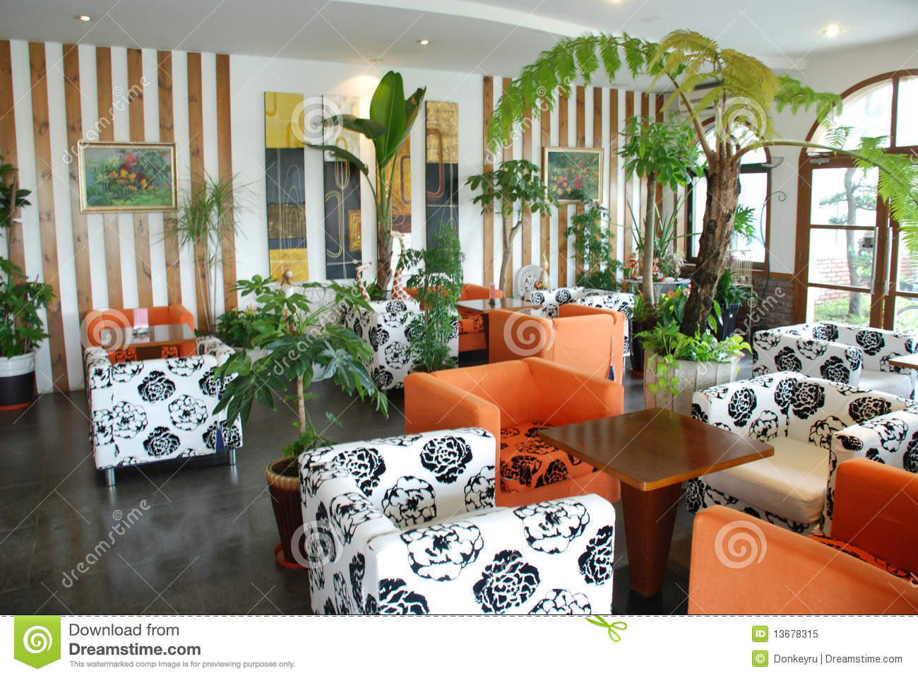 Cafeteria With Green Tropical Indoor Plant Royalty Free