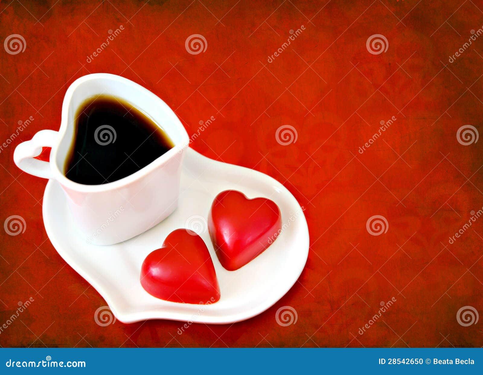 Famoso Caffè Del Giorno Del Biglietto Di S. Valentino Con I Cuori Del  FT99