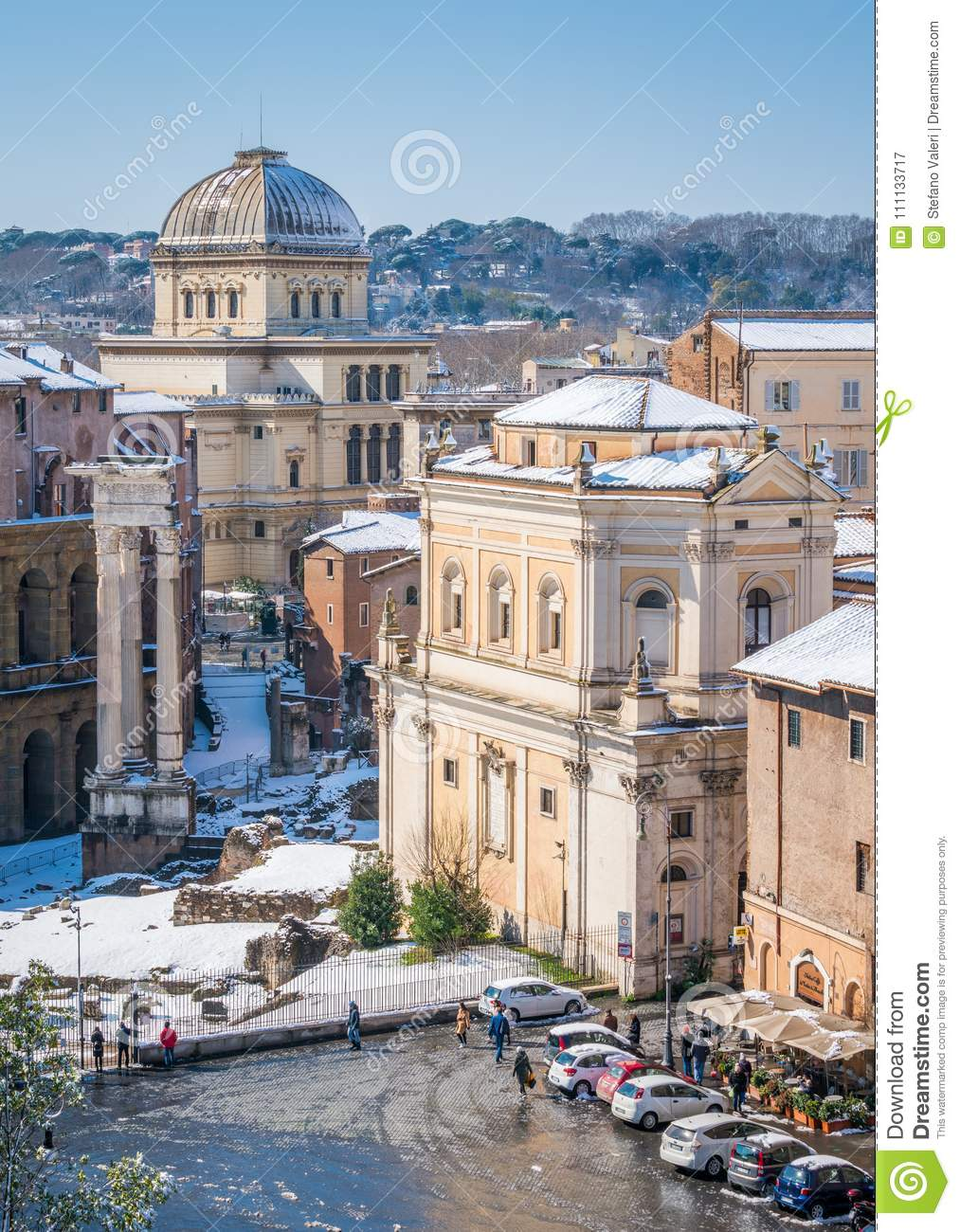 Snow In Rome In February 2018 Panoramic Sight Of Roofs
