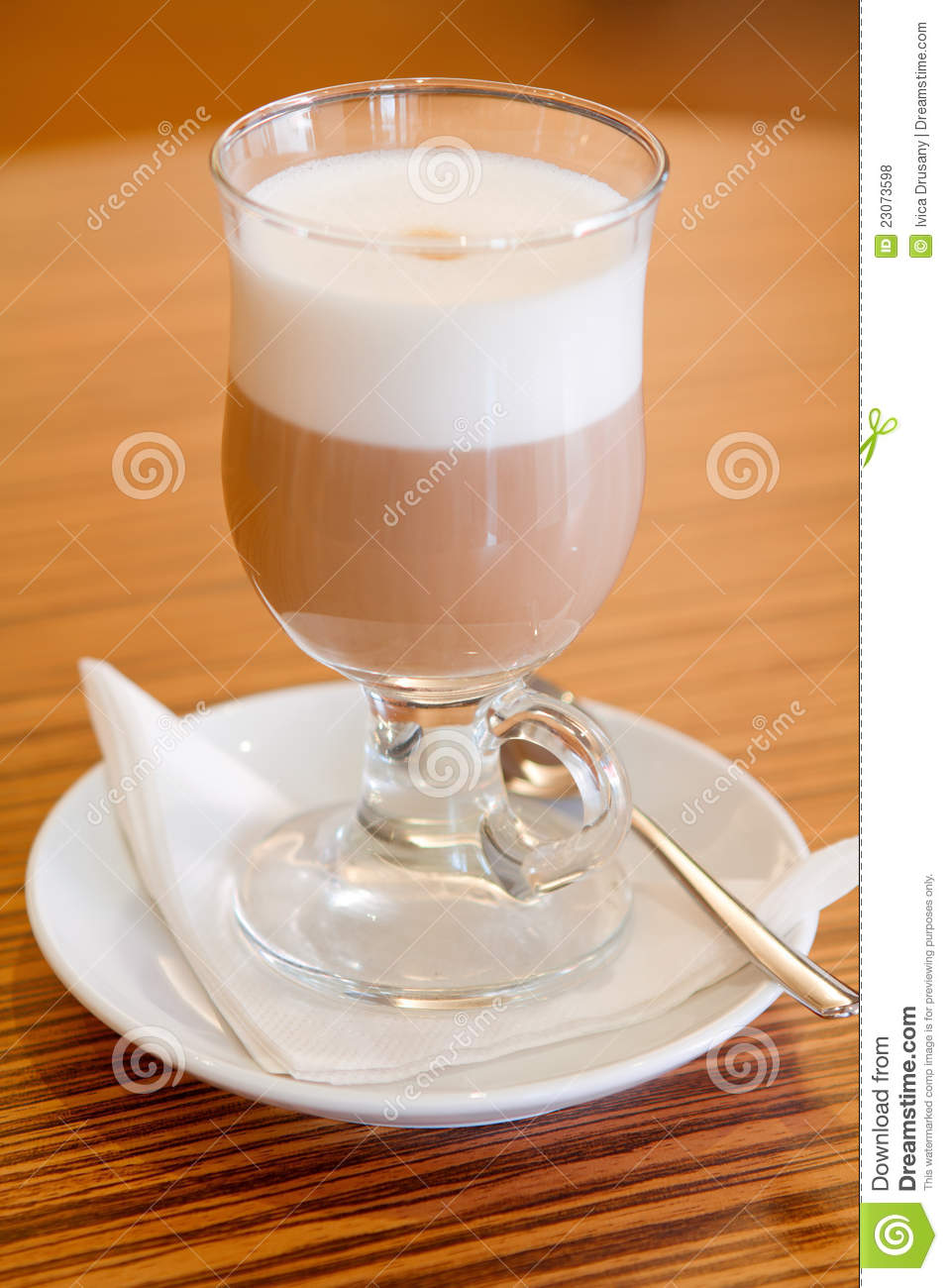 Caffe Latte Served In A Glass Royalty Free Stock Photos - Image: 23073598