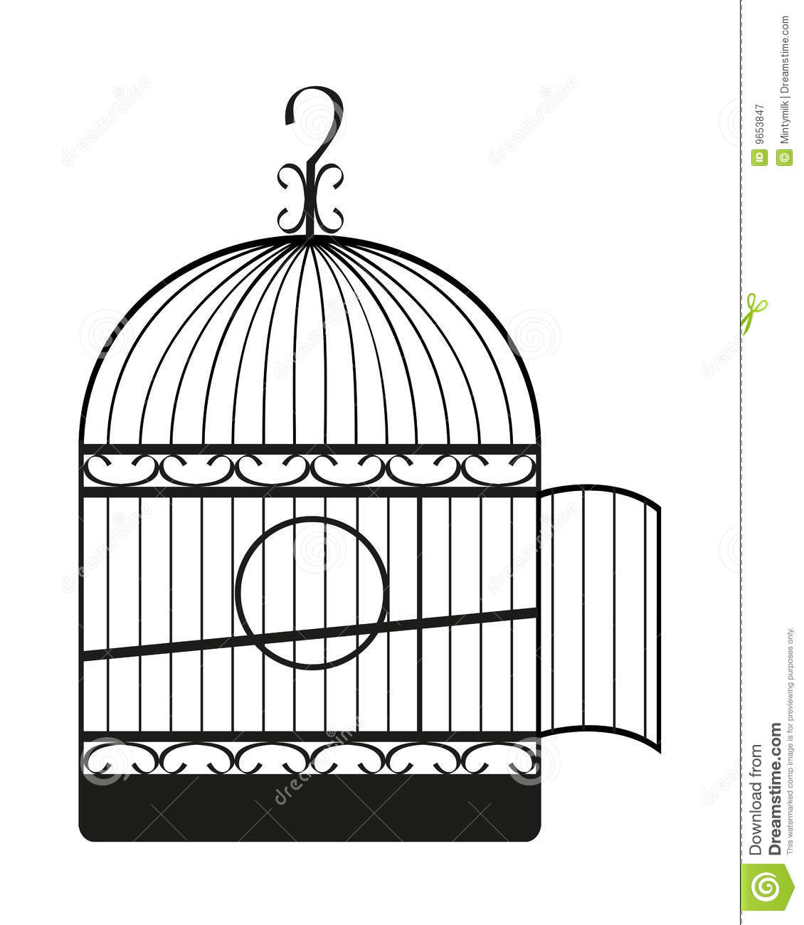 Cage d 39 oiseau illustration stock illustration du tra age - Dessin oiseau en cage ...