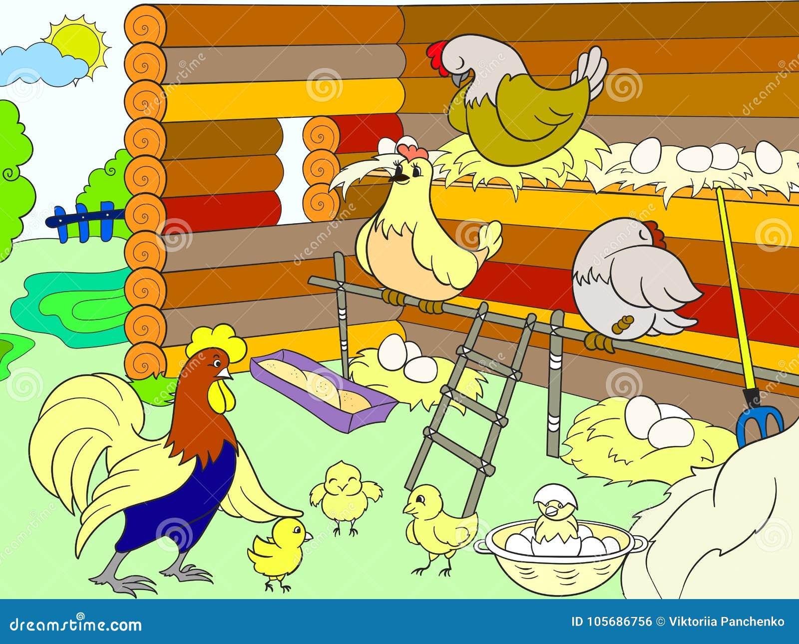 Cage de poulet L intérieur et la vie des oiseaux dans la cage de poulet pour la bande dessinée d enfants dirigent l illustration