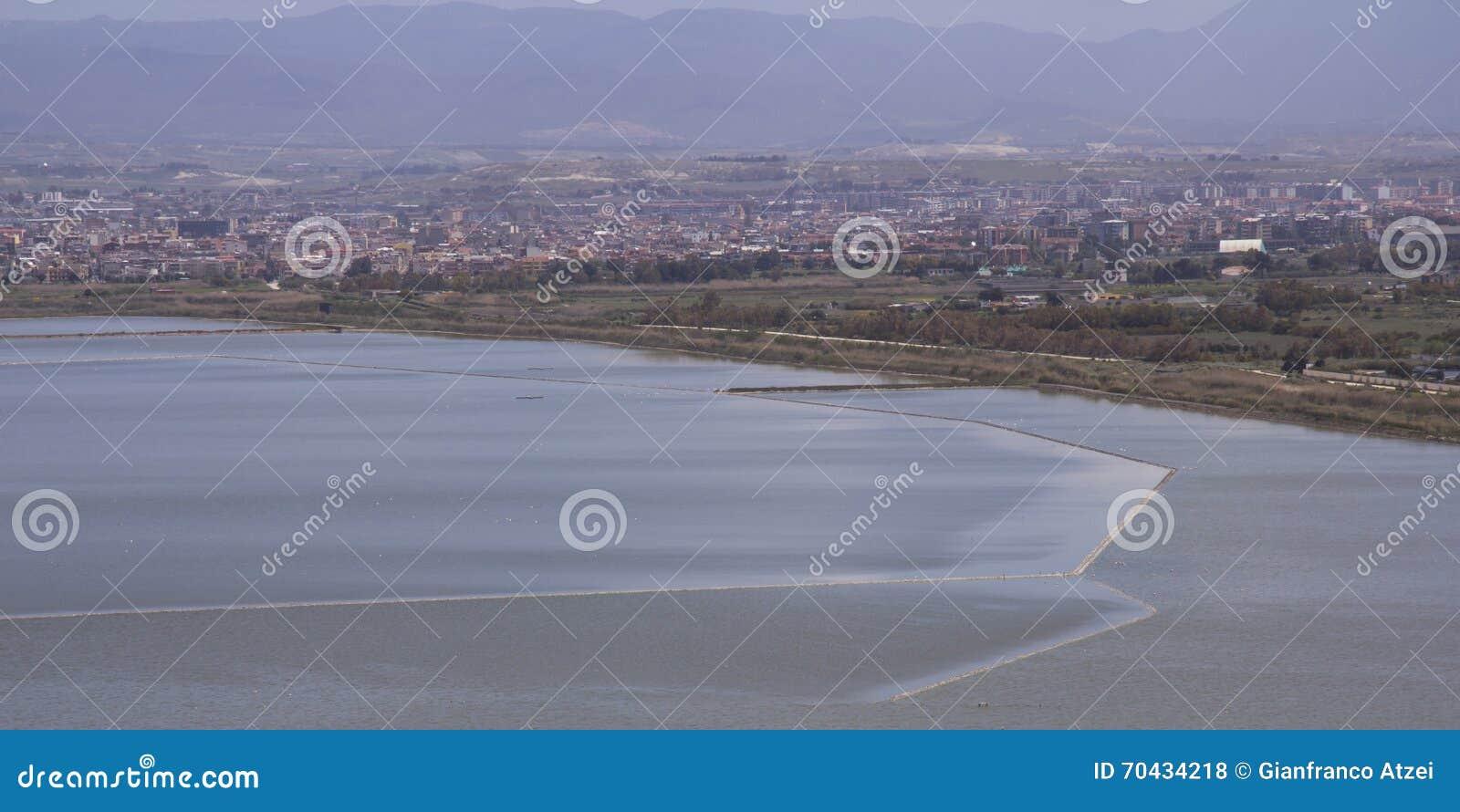 Cagliari: Panorama dello stagno Molentargius - Sardegna