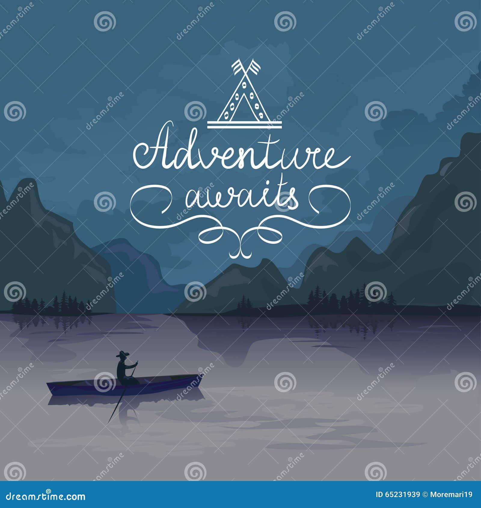 Caiaque em um lago da montanha A aventura espera logo
