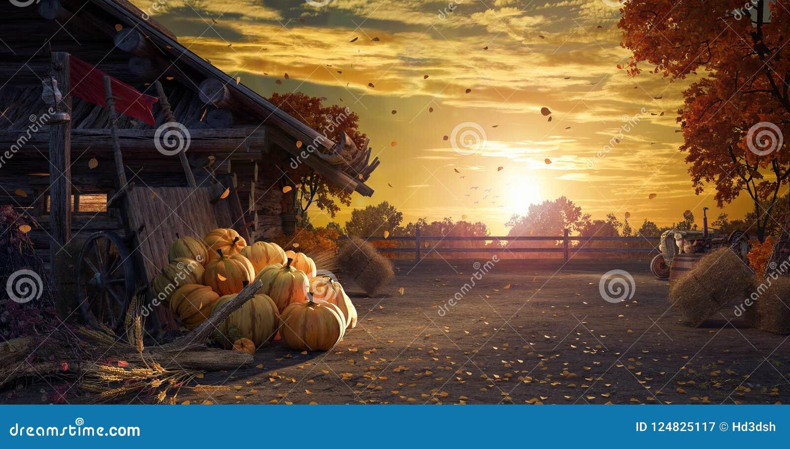 Caiga en patio trasero con las hojas que caen de los árboles y de las calabazas, fondo del otoño