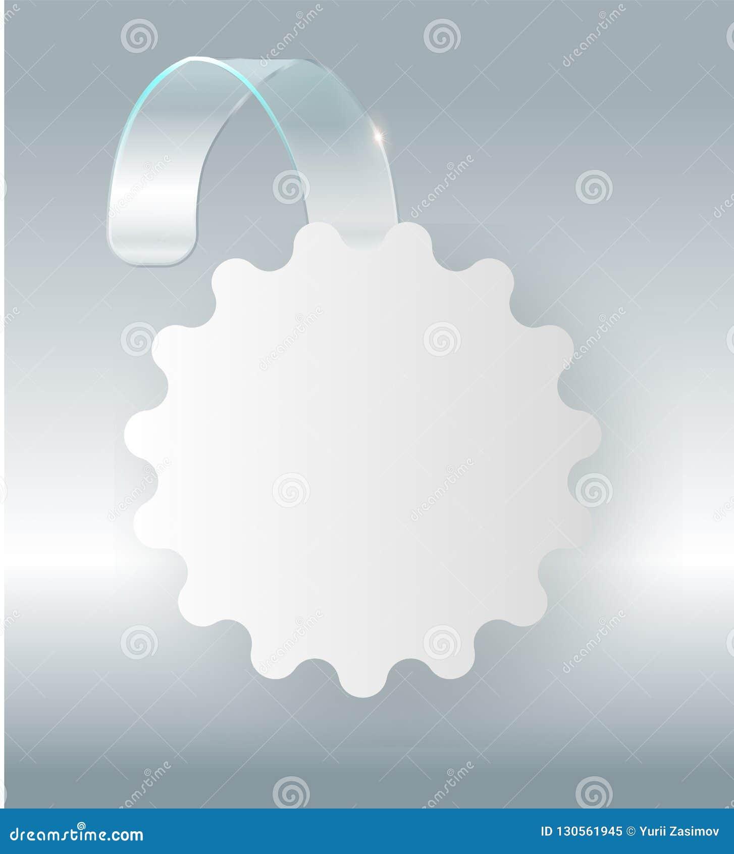 Cair branco vazio do wobbler na zombaria da parede acima, rendição 3d Espace em volta do modelo de papel na tira transparente plá