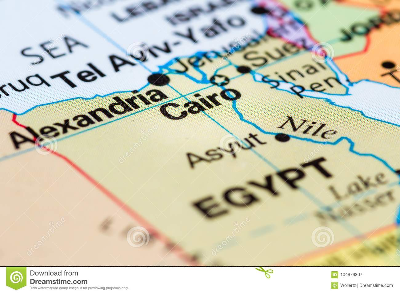 Cairo, Egypt on a map stock image. Image of city, name - 104676307
