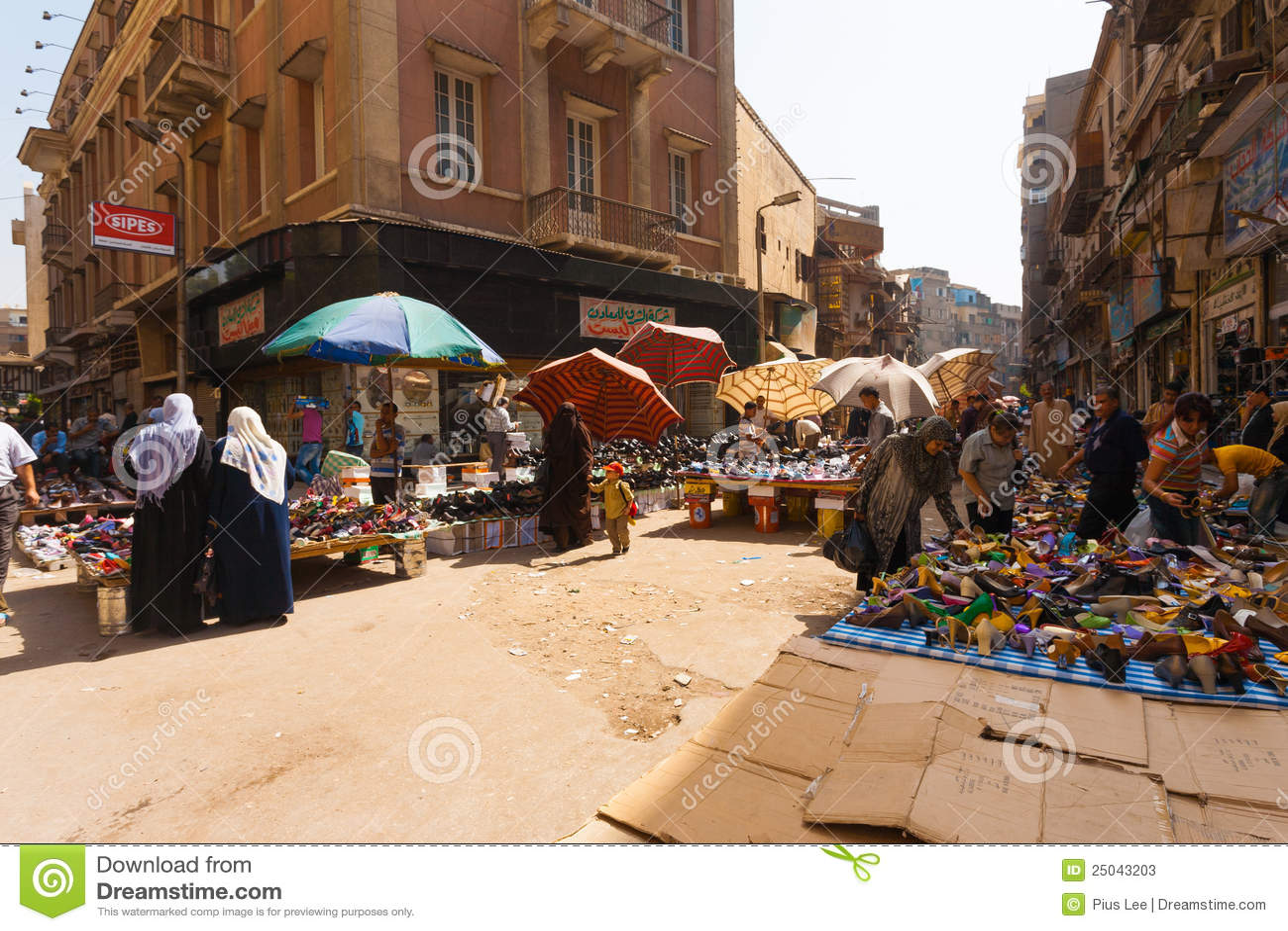Cairo Street Market Women Shoe Editorial Stock Photo