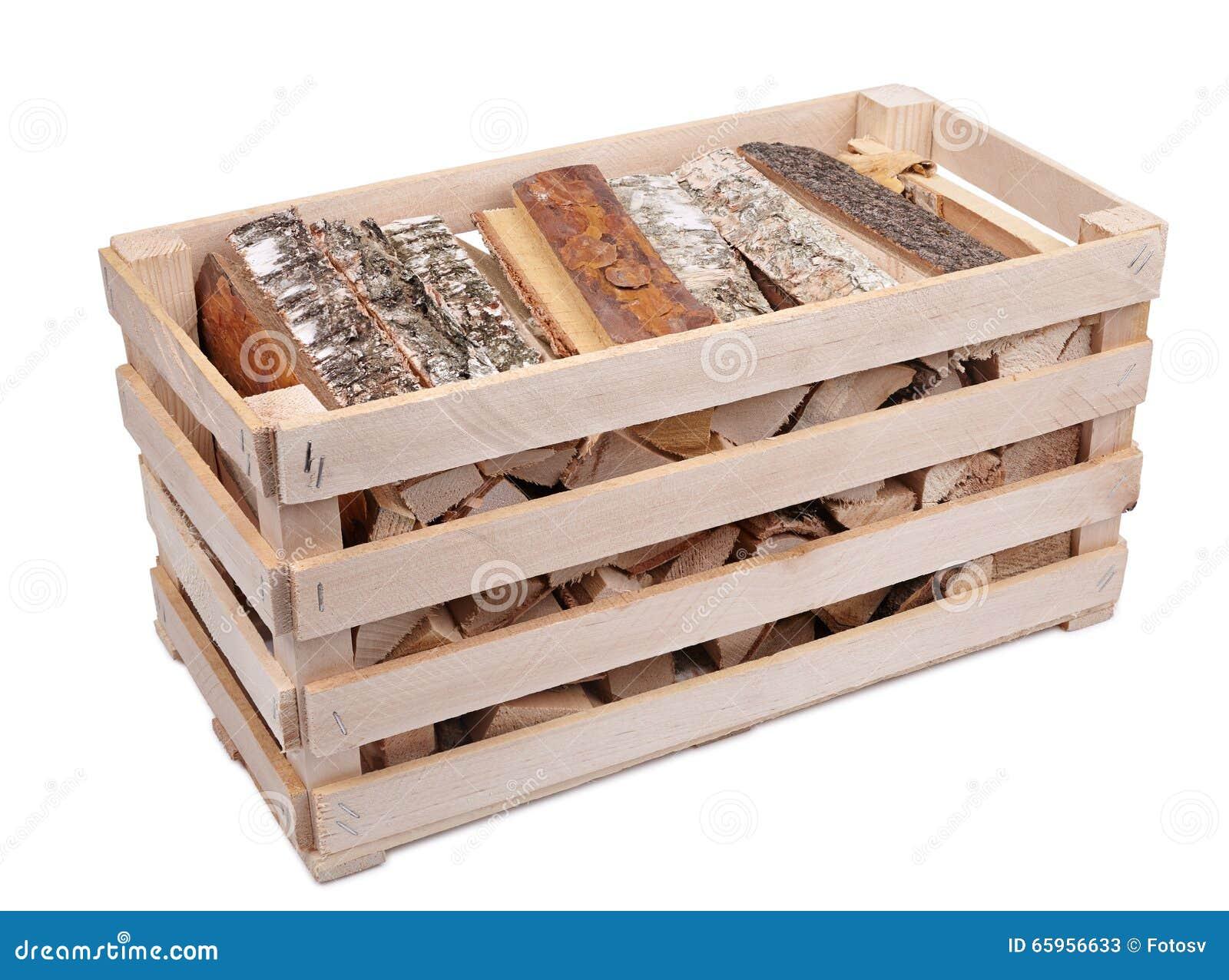 Caisse avec le bois de chauffage photo stock image 65956633 - Casier a bois de chauffage ...