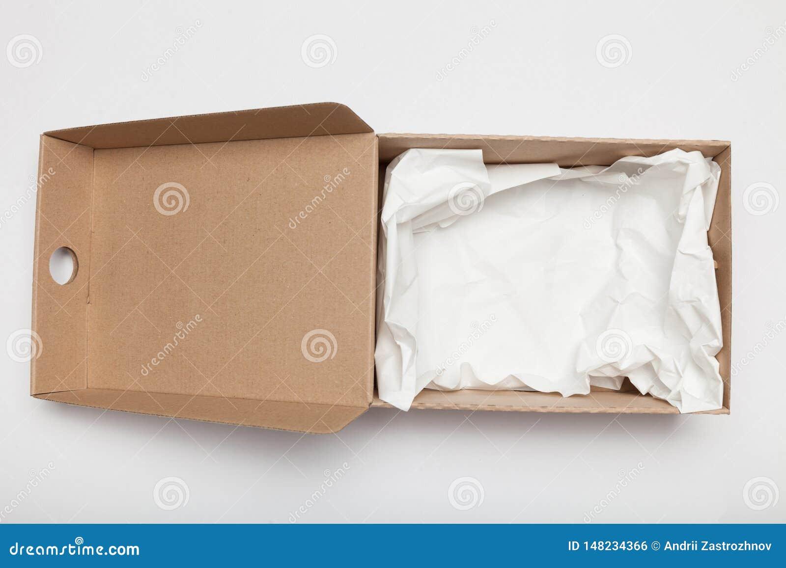 Caixa aberta da caixa da entrega, cartão ondulado Embalagem do recipiente Copie o espa?o para o texto