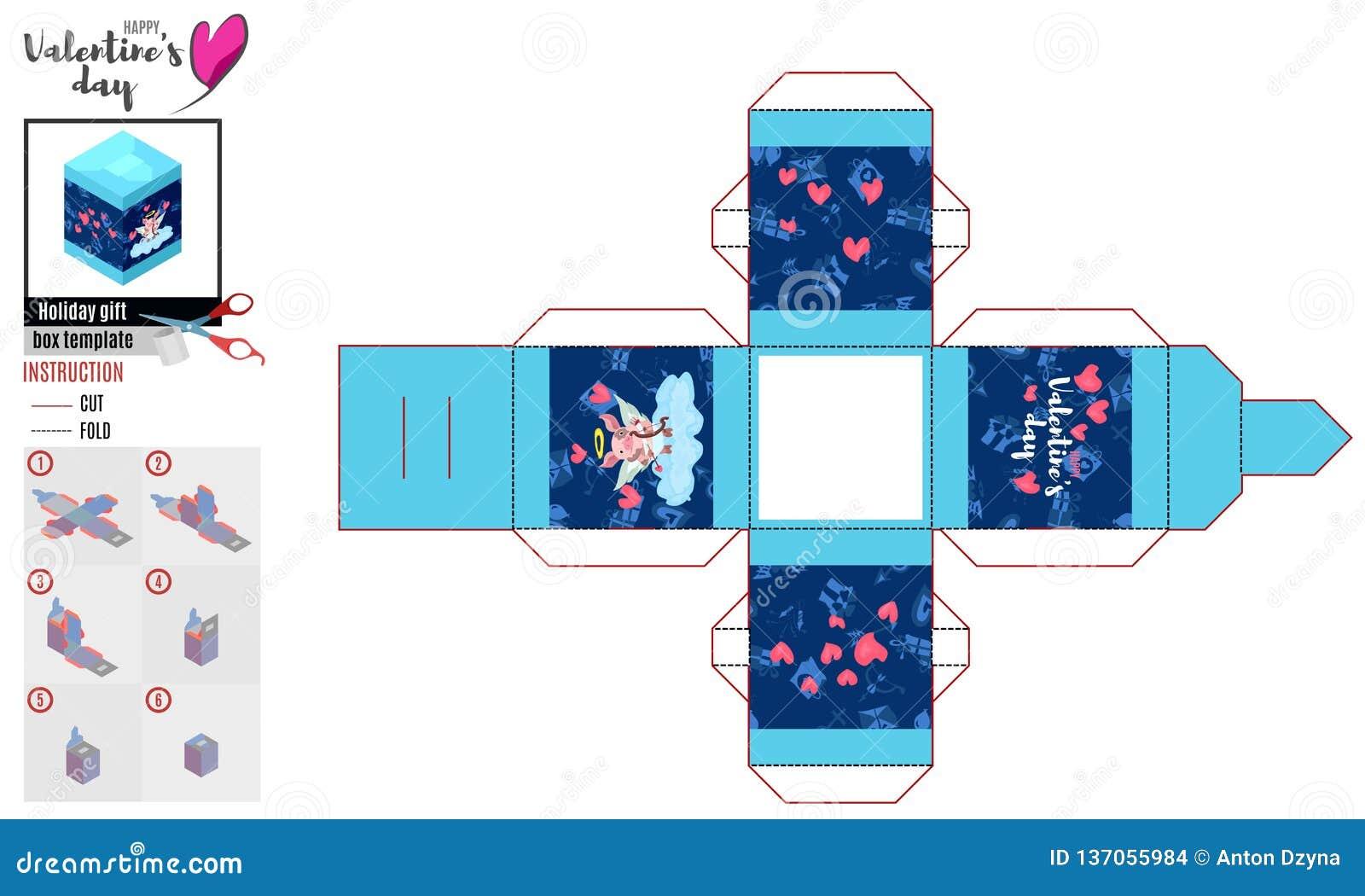Caixa brilhante do teste padrão para o dia de Valentim com porco do cupido