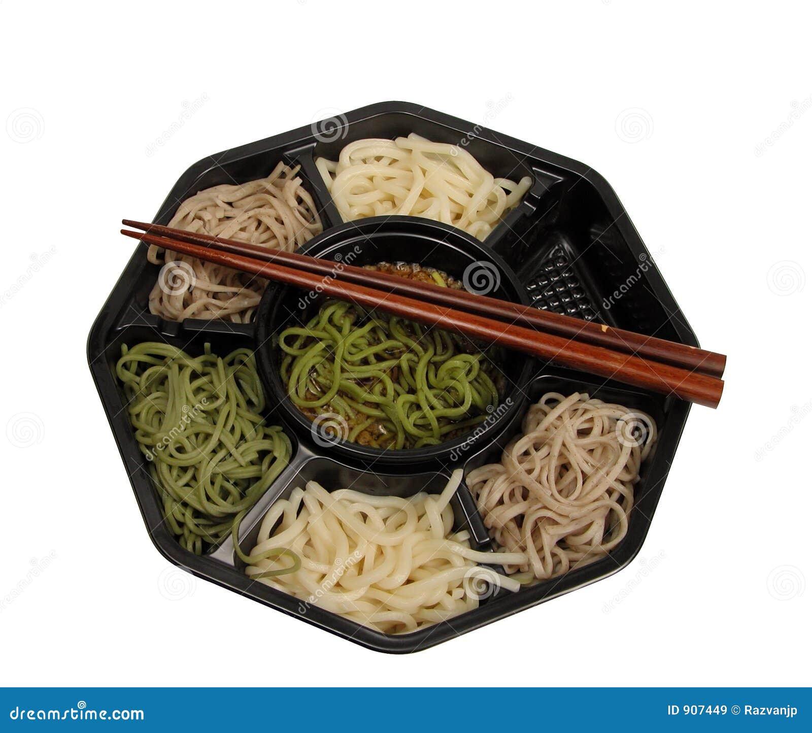 Caixa de almoço de Soba e trajeto do chopsticks-grampeamento