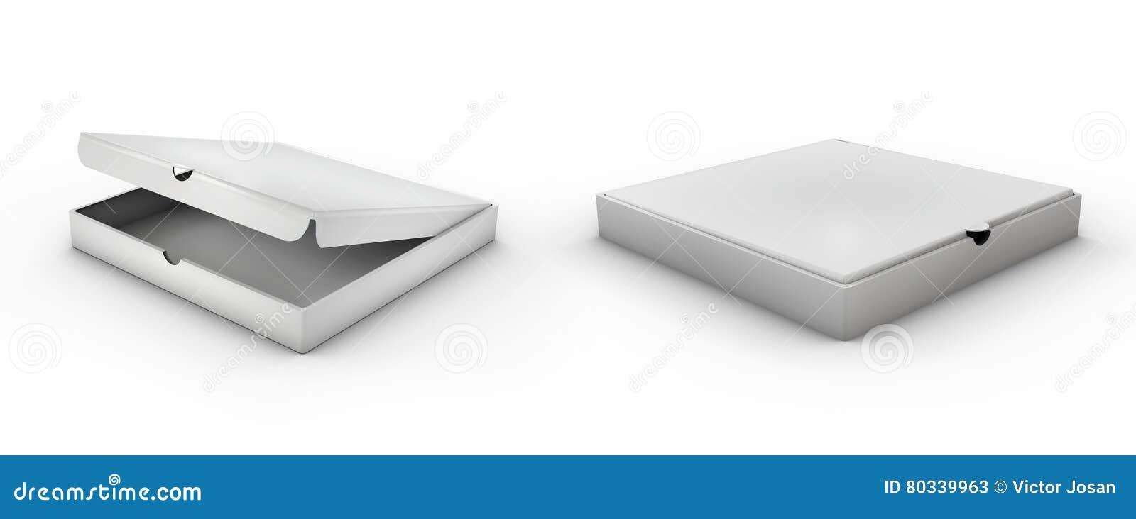 Caixa de cartão isométrica realística da pizza 3d Vista aberta, fechado, lateral