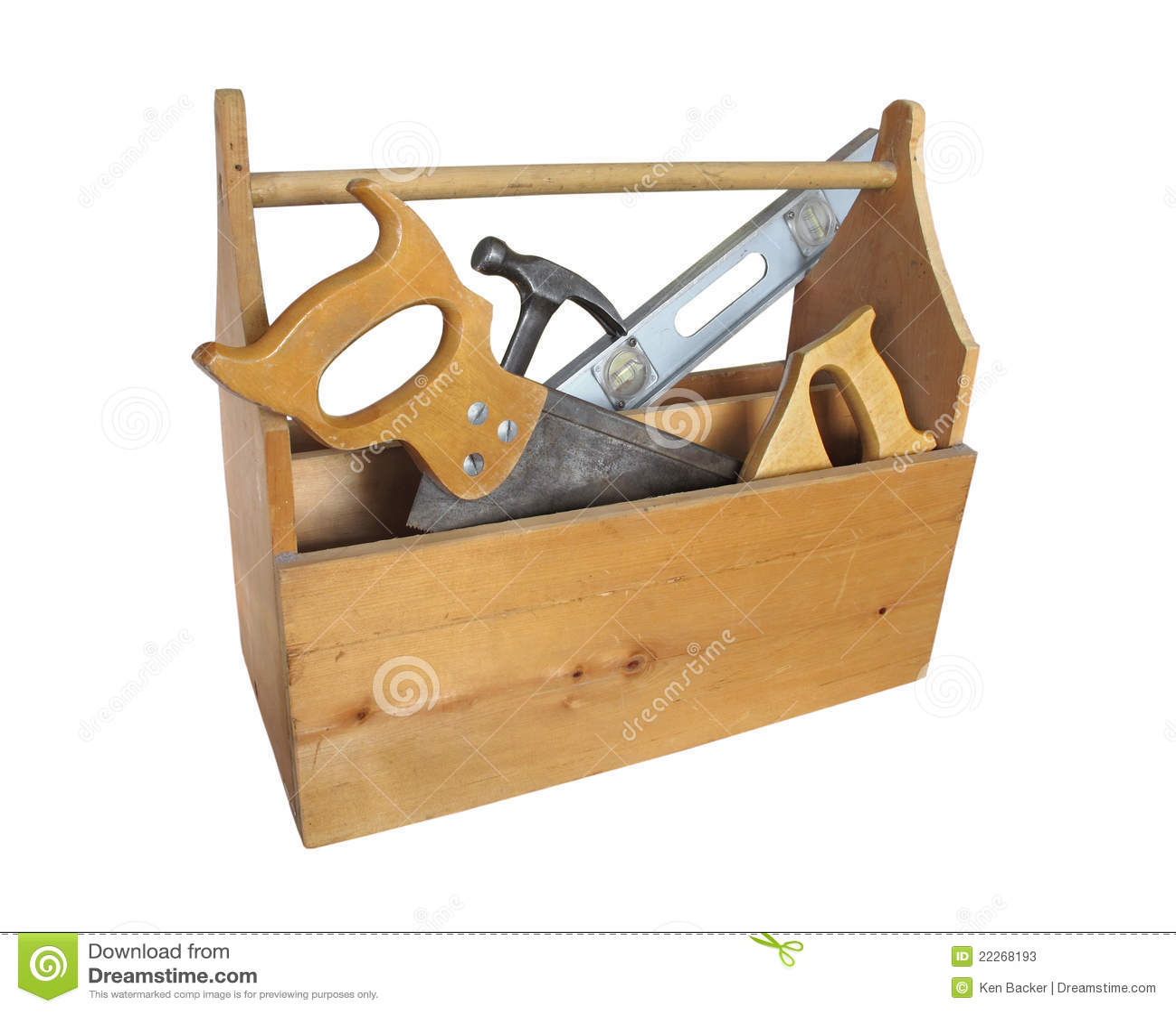 Caixa de ferramentas de madeira com ferramentas