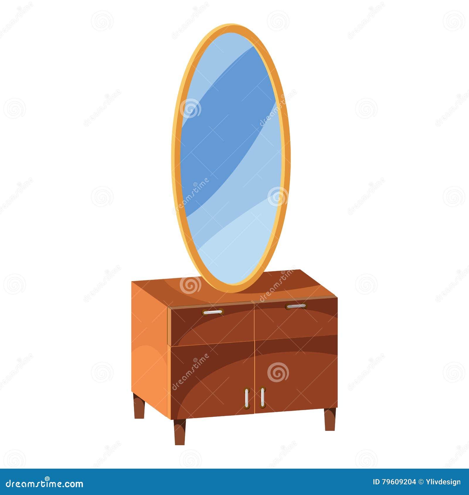 Caixa de gavetas com ícone do espelho, estilo dos desenhos animados