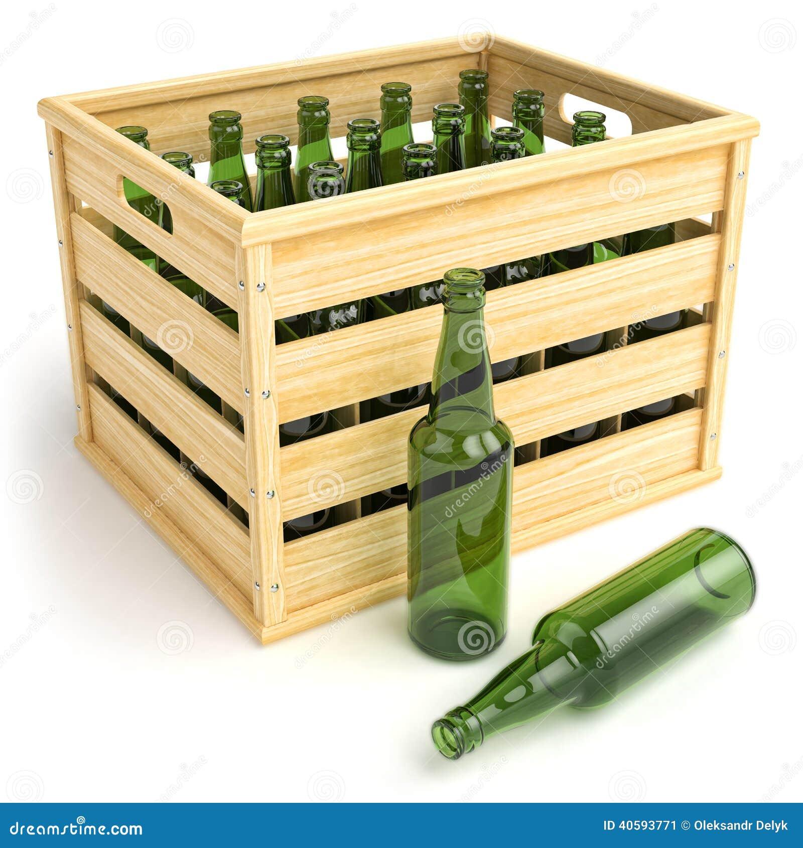 Caixa De Madeira Com As Garrafas De Cerveja Vazias Ilustração Stock  #AB7C21 1300x1390