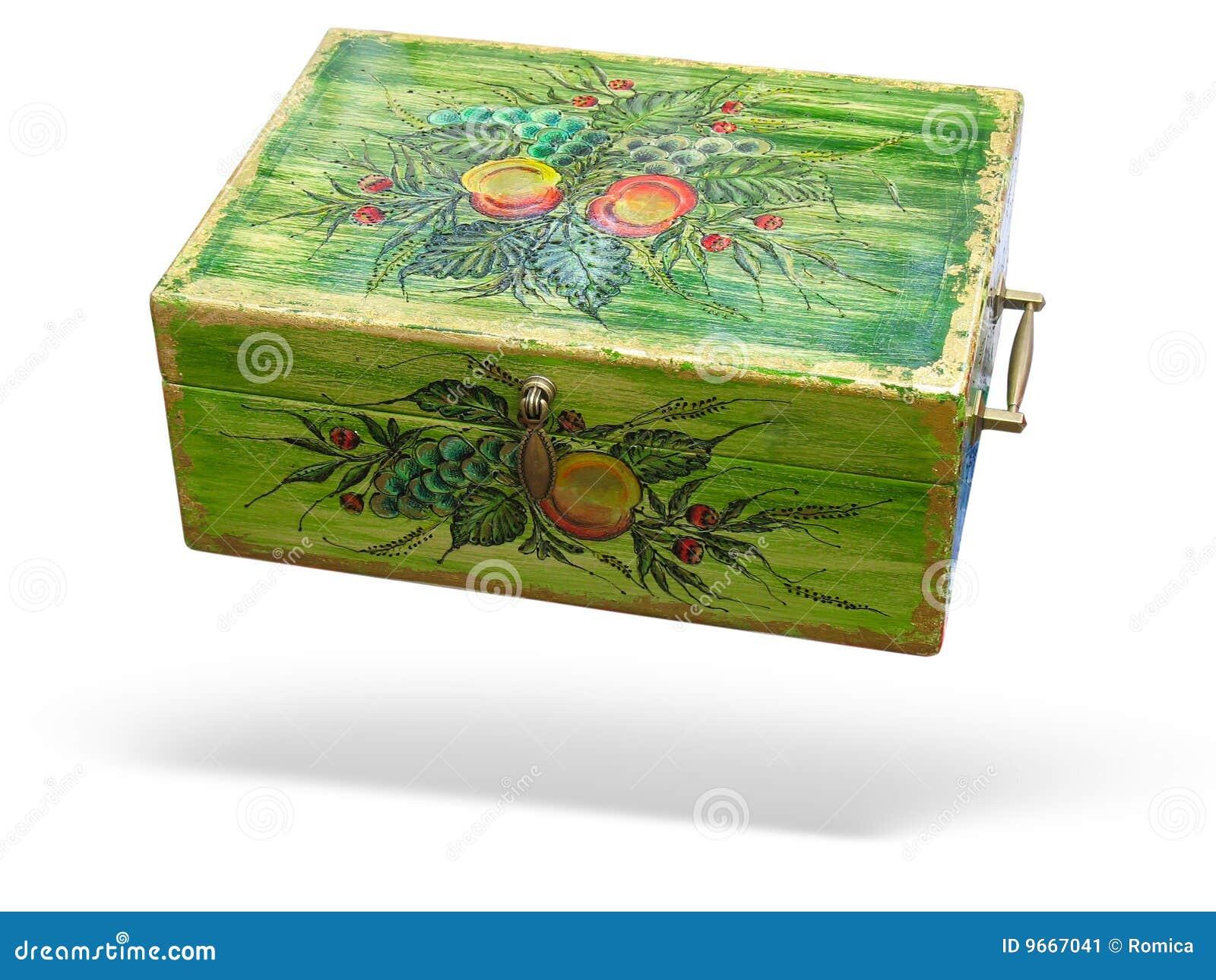 Caixa De Madeira Decorada Verde Antiga Isolou se Imagem de Stock  #496C14 1300x1065