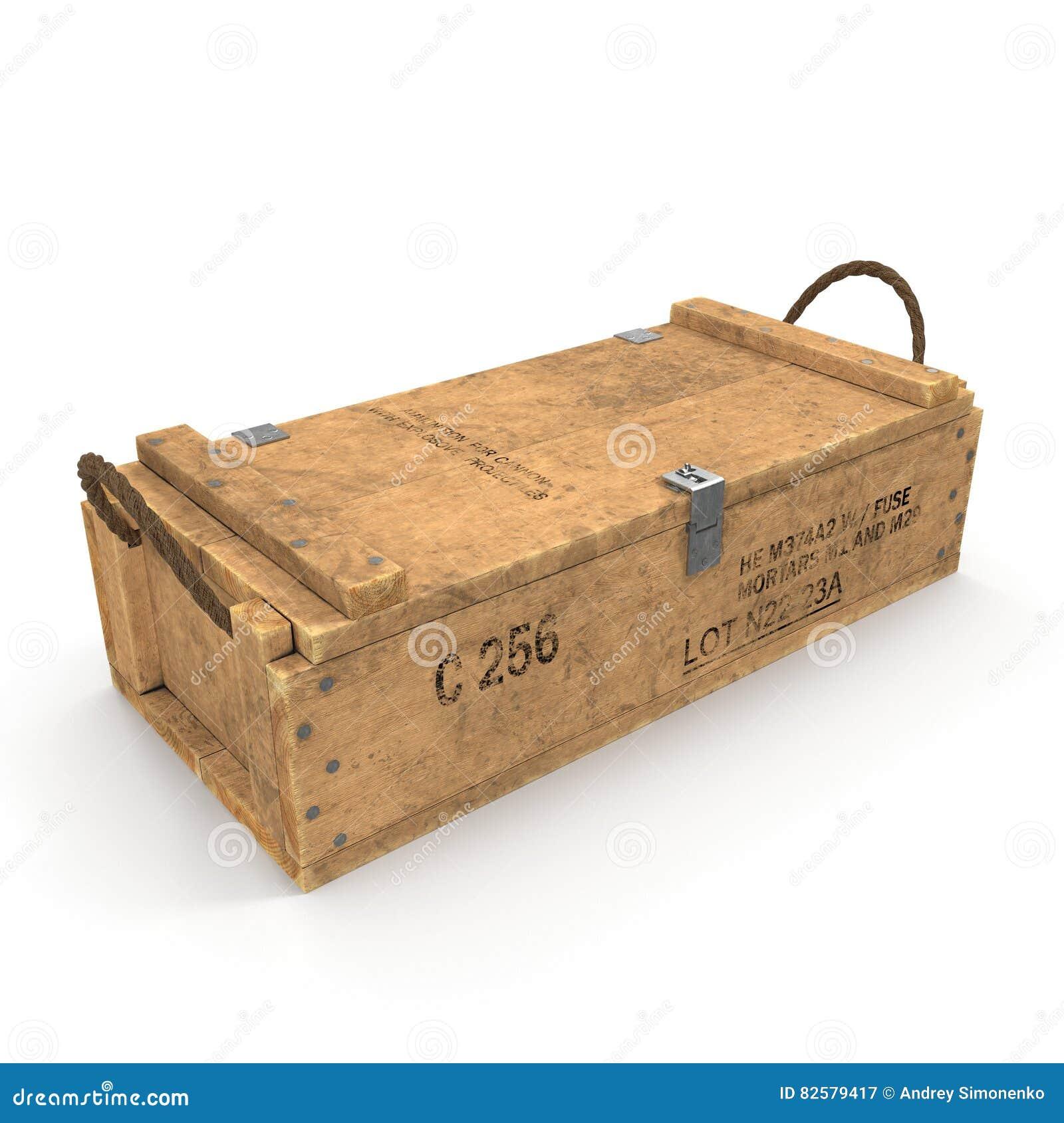 Caixa de munição de madeira velha no branco ilustração 3D