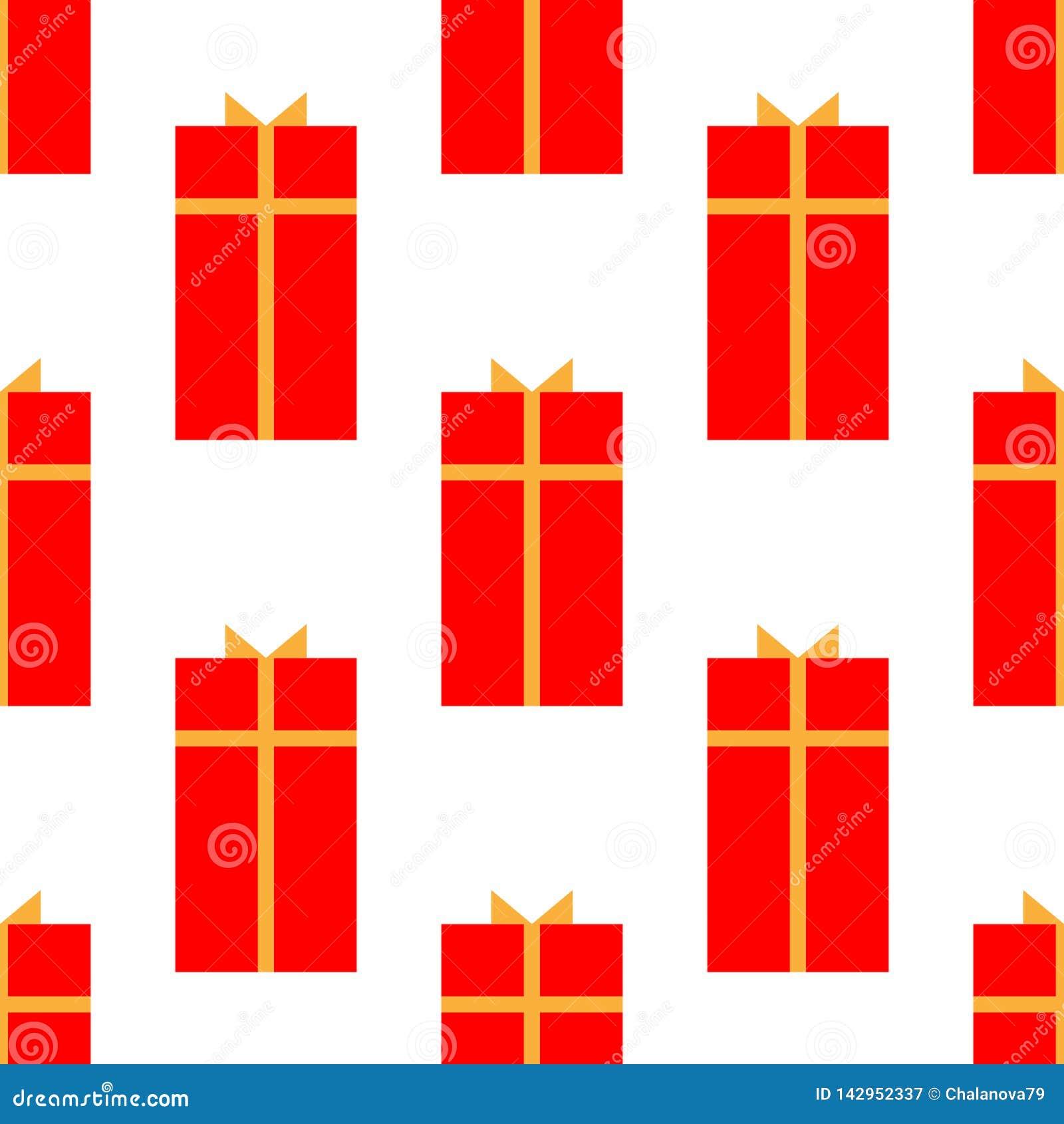 Caixa de presente com ?cone liso da fita, sinal do vetor, isolado no branco Teste padr?o sem emenda do feriado