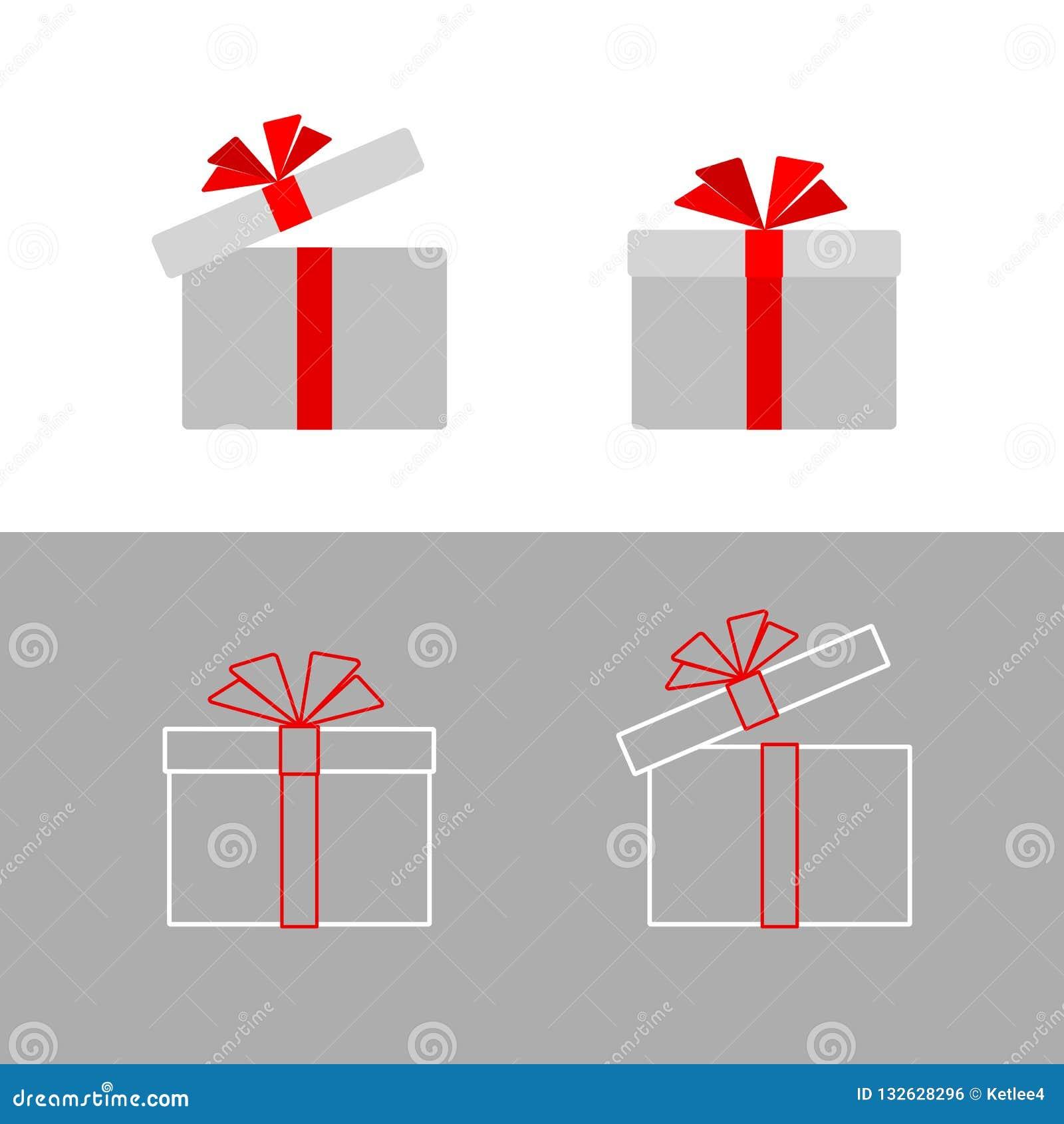 A caixa de presente com uma curva vermelha da fita isolou o ícone liso simples da caixa de presente da linha de cartão da propaga