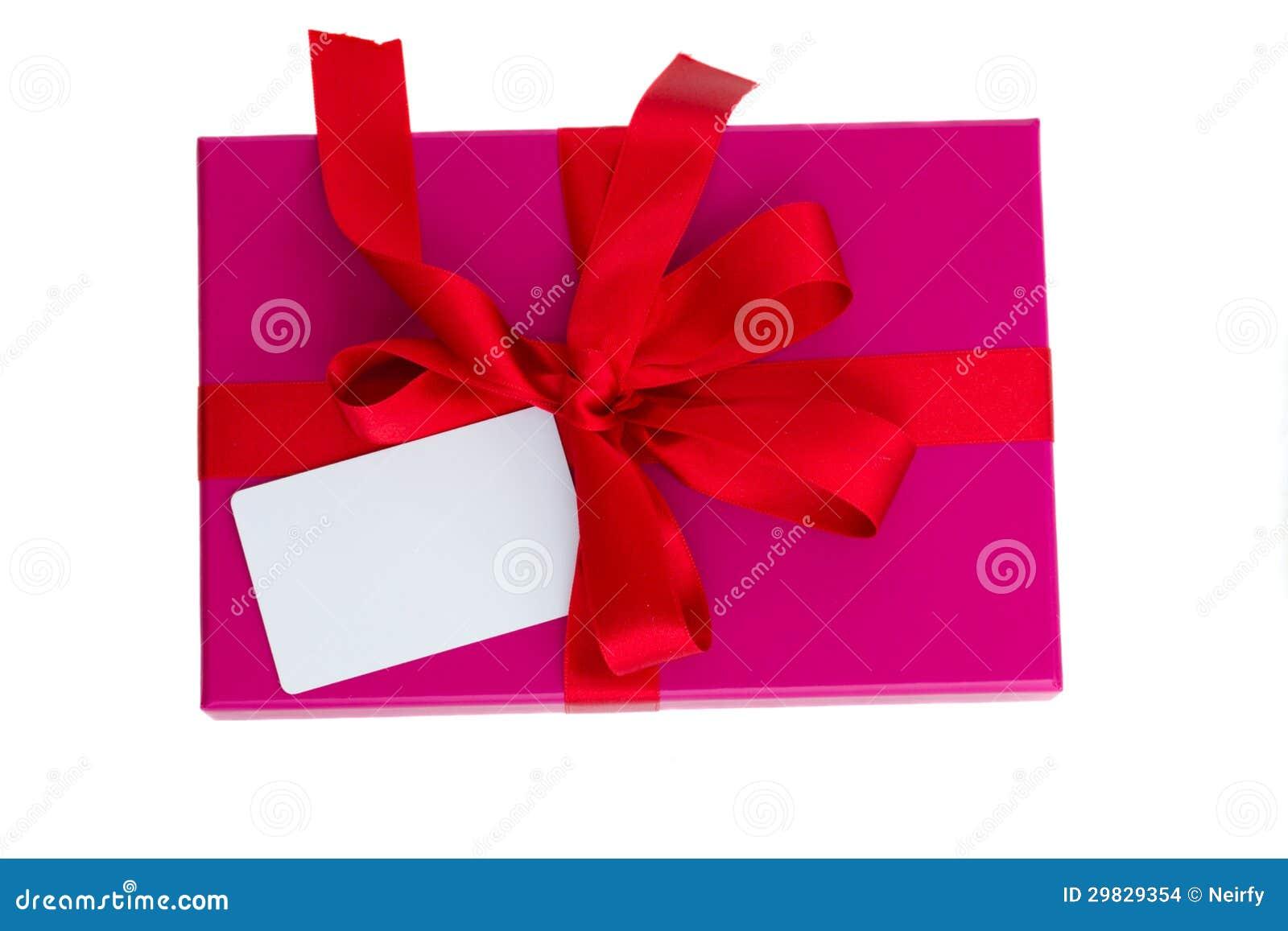 Caixa de presente cor-de-rosa com cartão vazio
