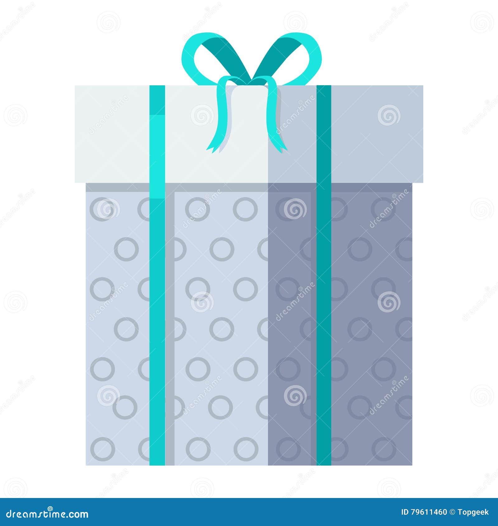 Caixa de presente de prata com fita verde