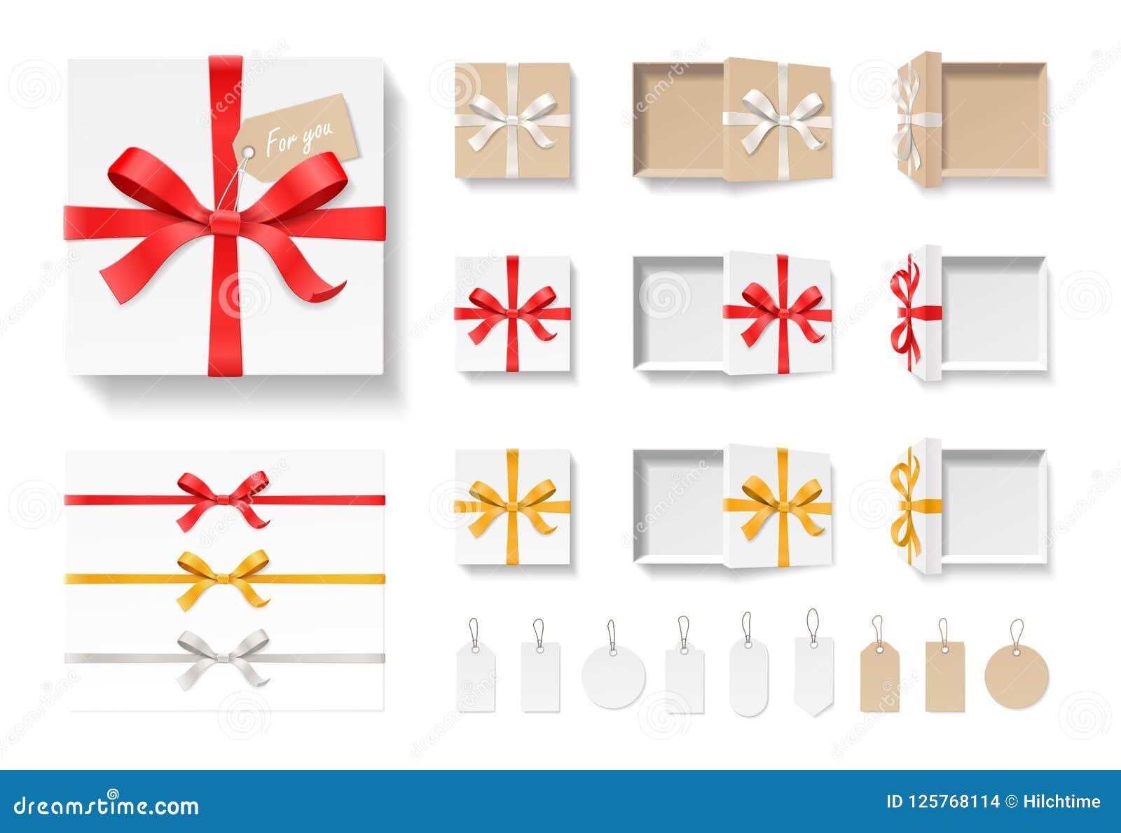 Caixa de presente do ofício, nó da curva da cor vermelha, fita vazia e grupo abertos da etiqueta isolado no fundo branco Feliz an
