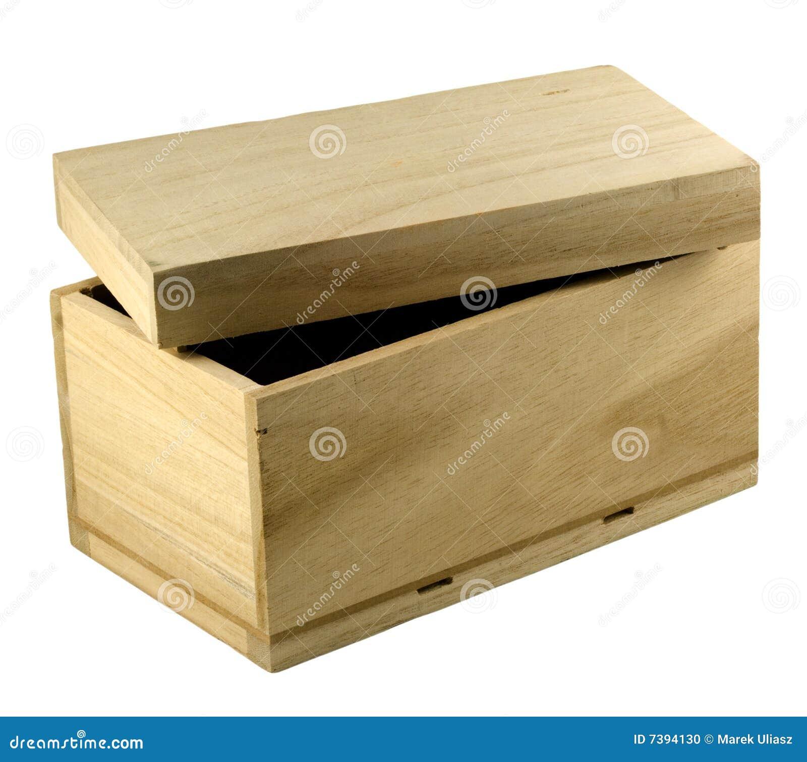 Caixa de presente de madeira inacabado com a tampa aberta isolada no  #85A724 1300x1246