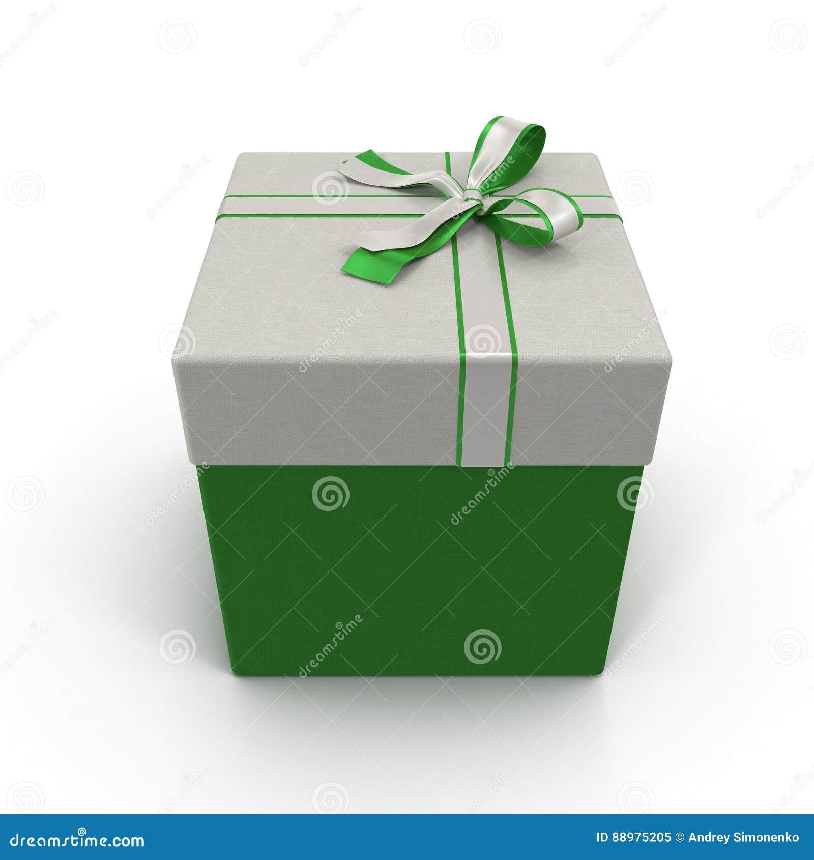 Caixa de presente verde com a fita de prata no branco ilustração 3D