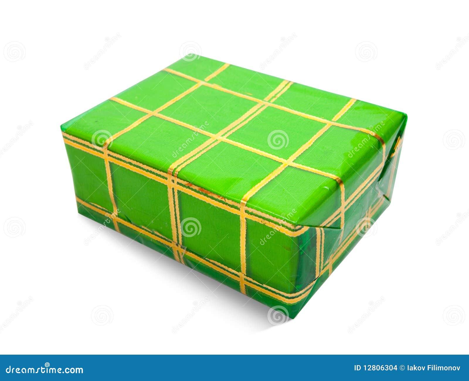 Caixa de presente verde no fundo branco