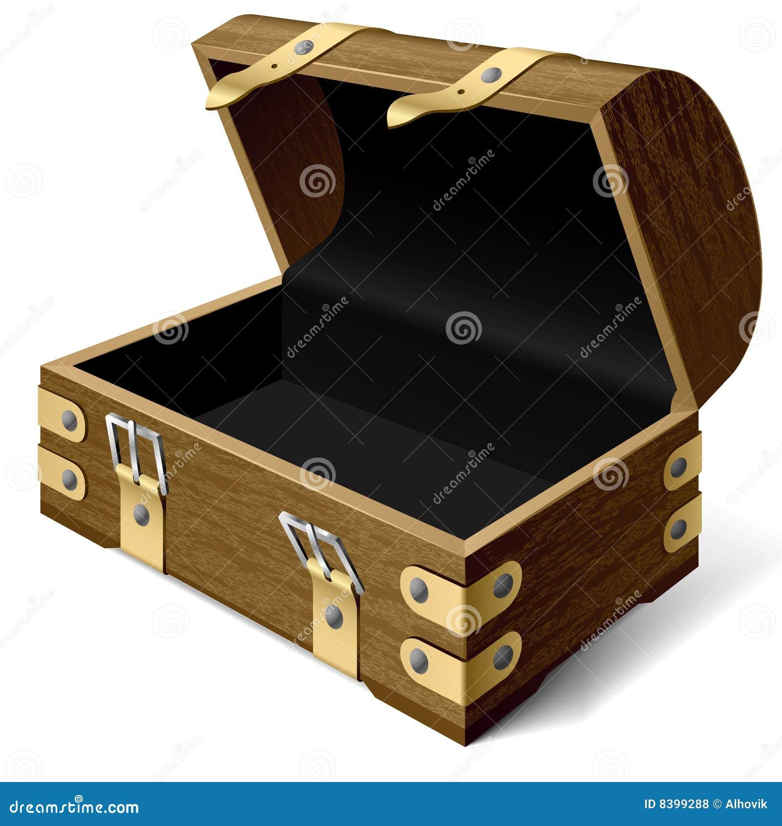 Caixa de tesouro vazia. Vetor.
