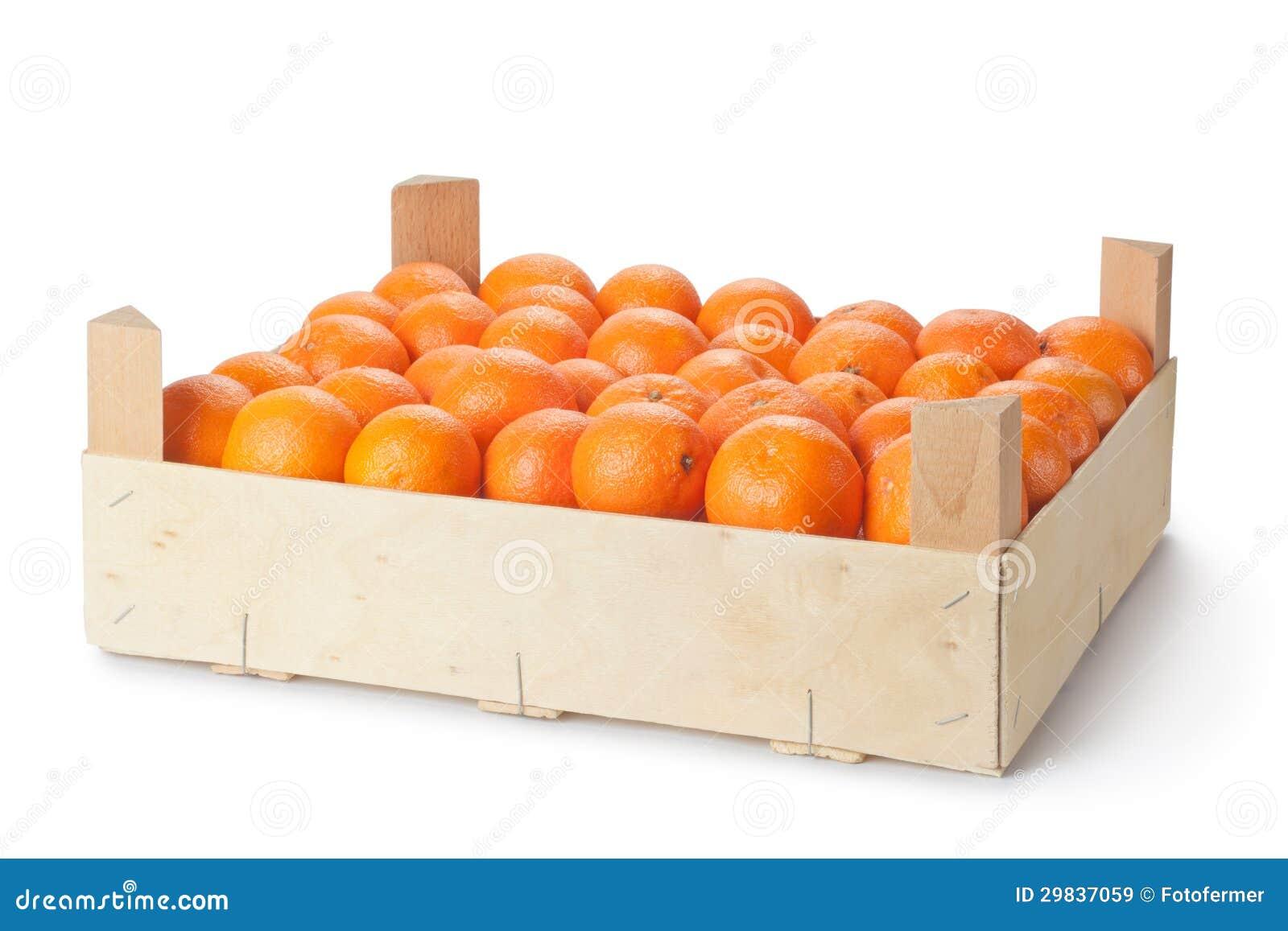 Caixa de varejo de tangerinas maduras