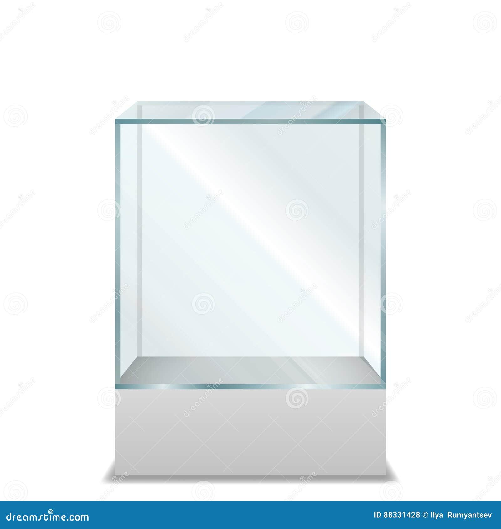 Caixa de vidro transparente vazia no suporte