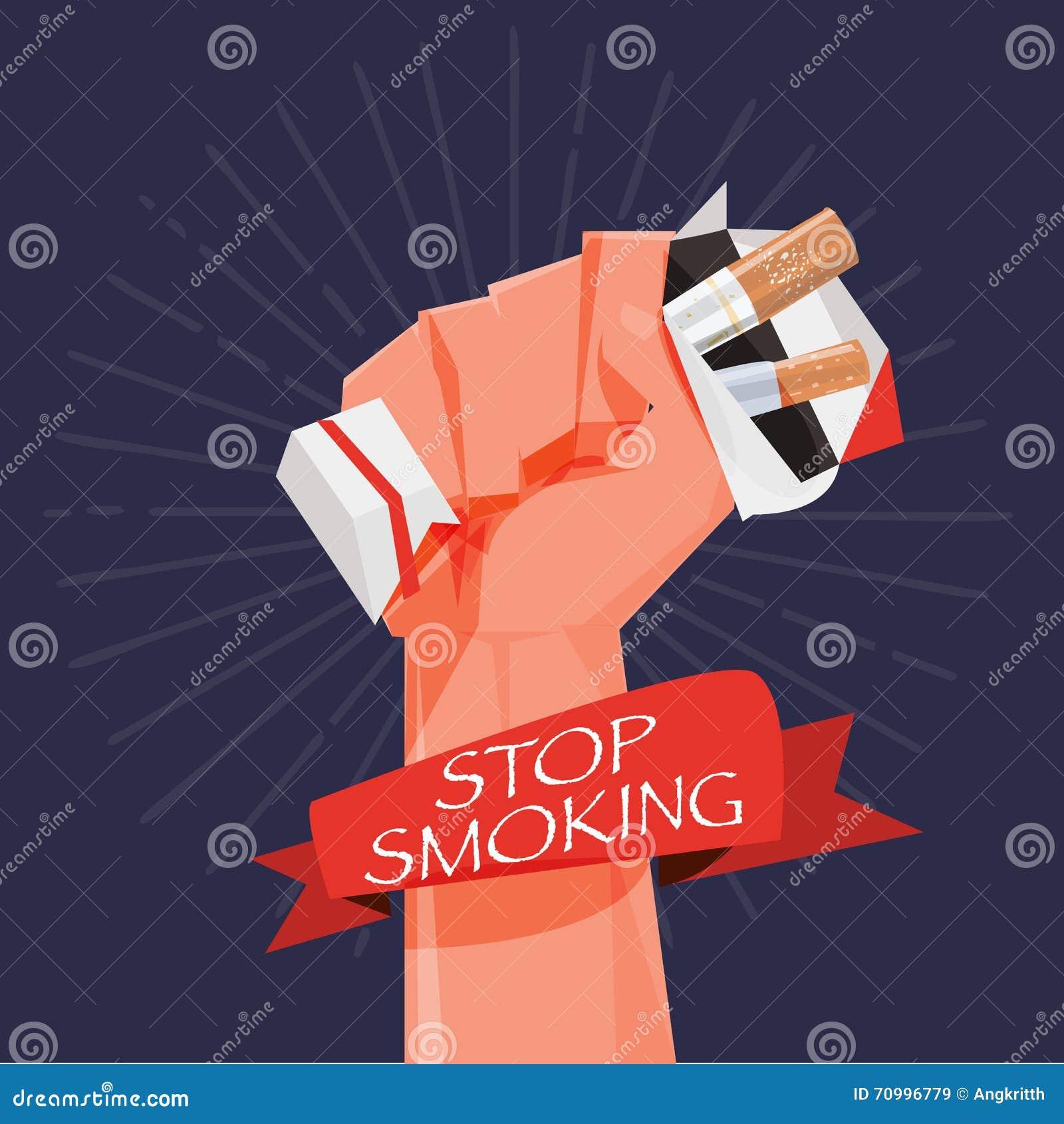 Caixa do cigarro na mão do punho Dando acima o fumo pare o fumo concentrado