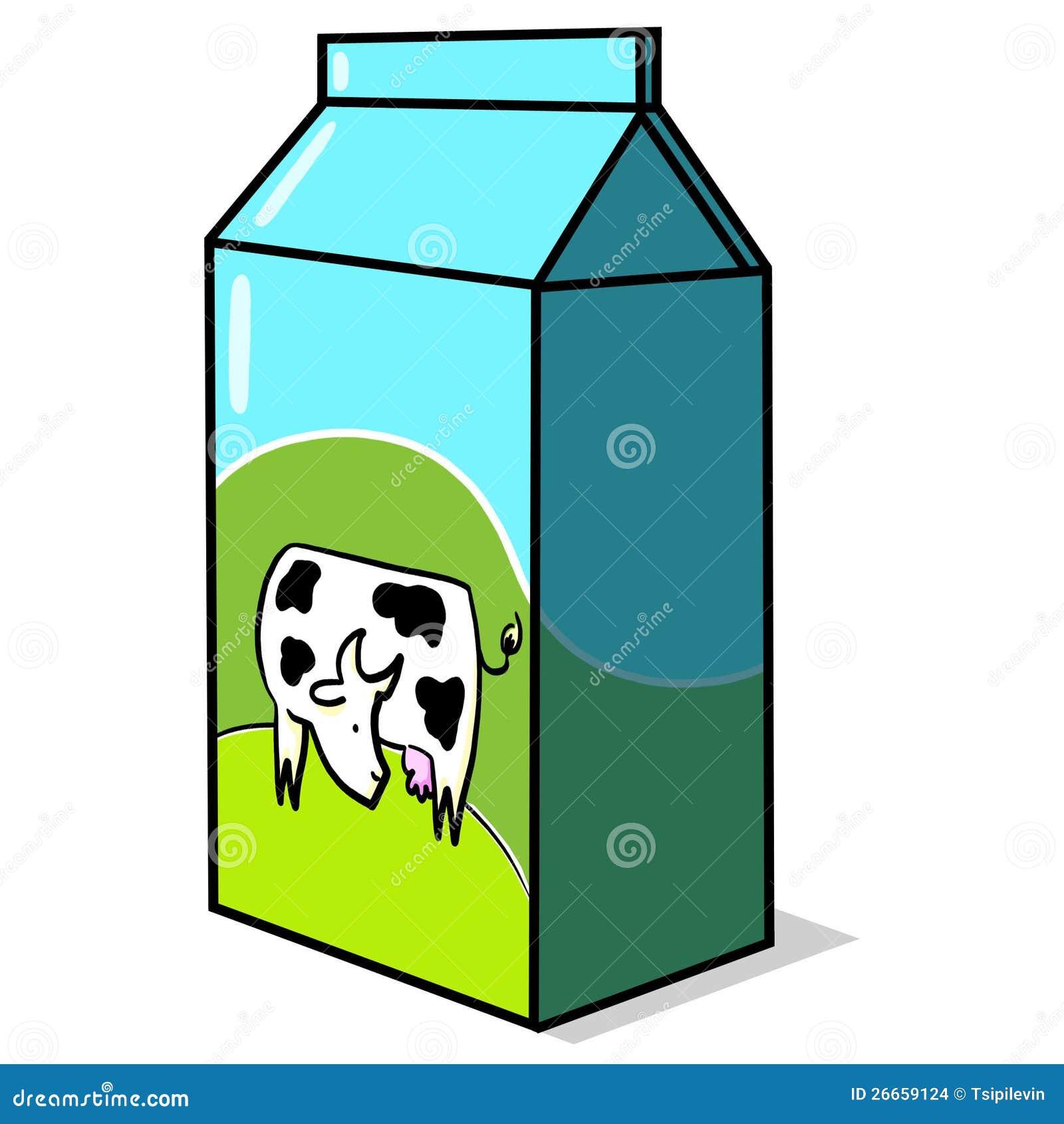 Caixa Do Leite Com Ilustracao Da Vaca Ilustracao Stock