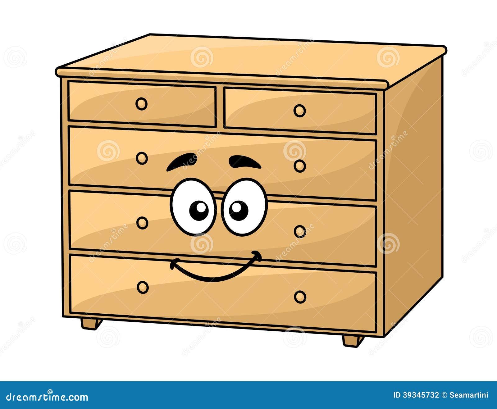Caixa dos desenhos animados de gavetas de madeira com uma cara de  #B57416 1300x1087