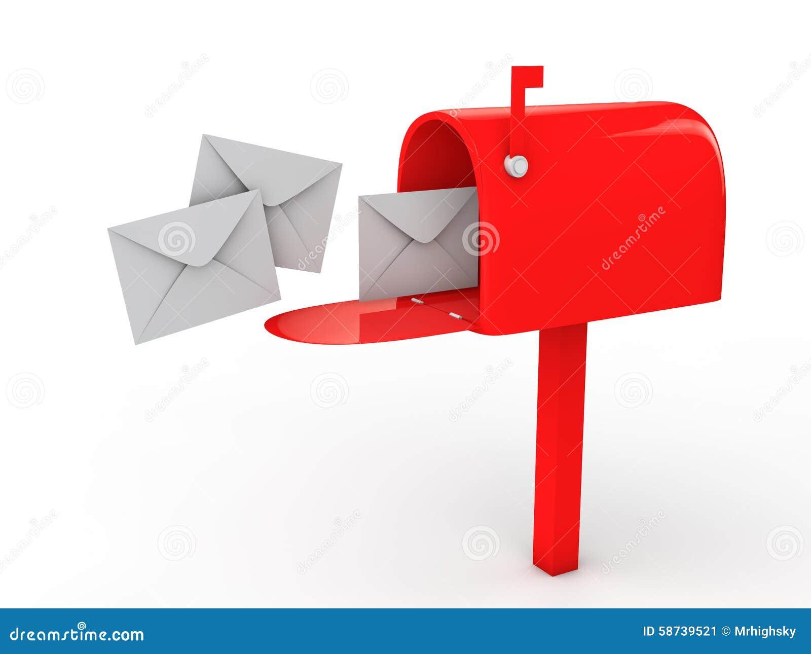 Caixa postal 3d e envelopes
