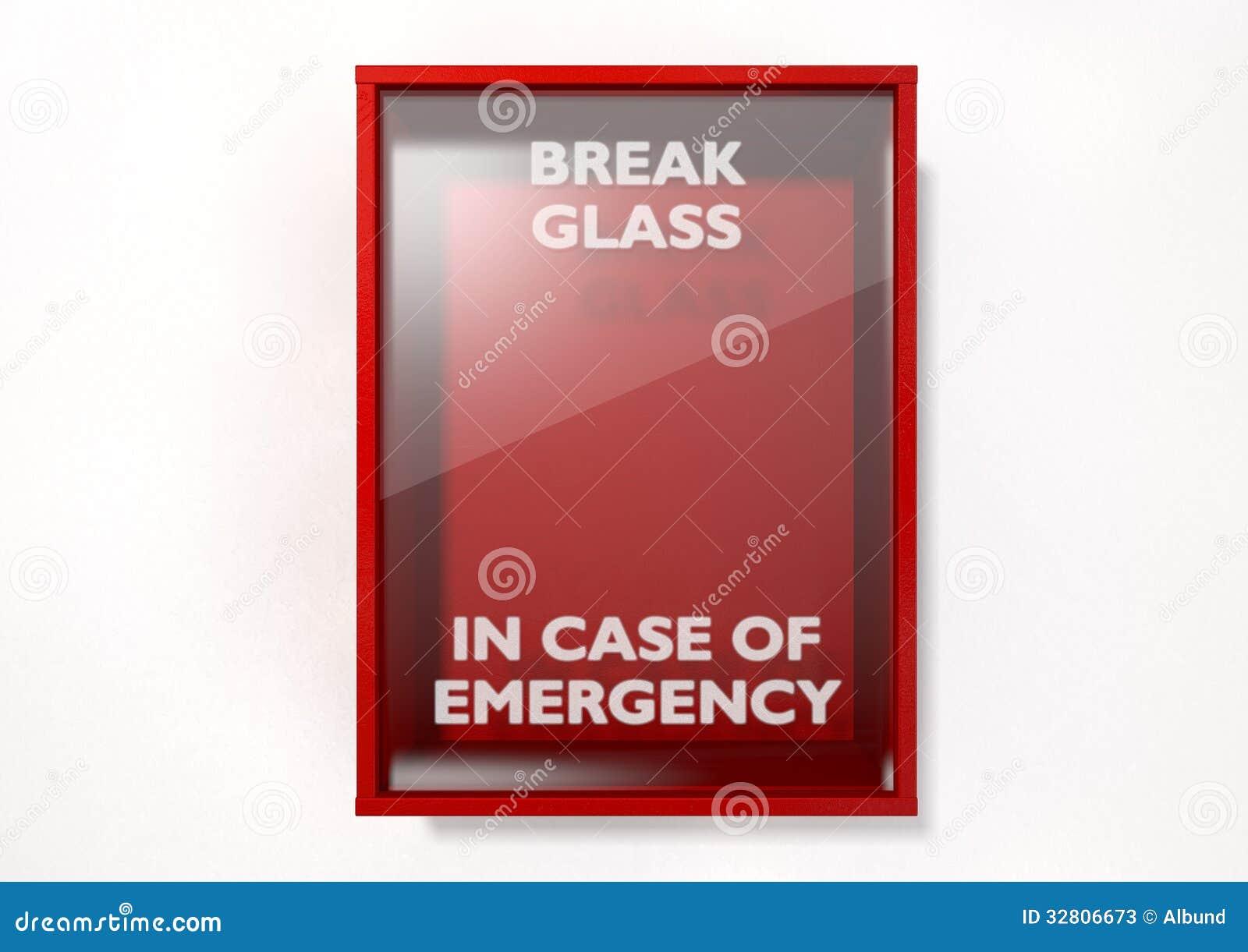 Caixa vermelha da ruptura em caso de urgência