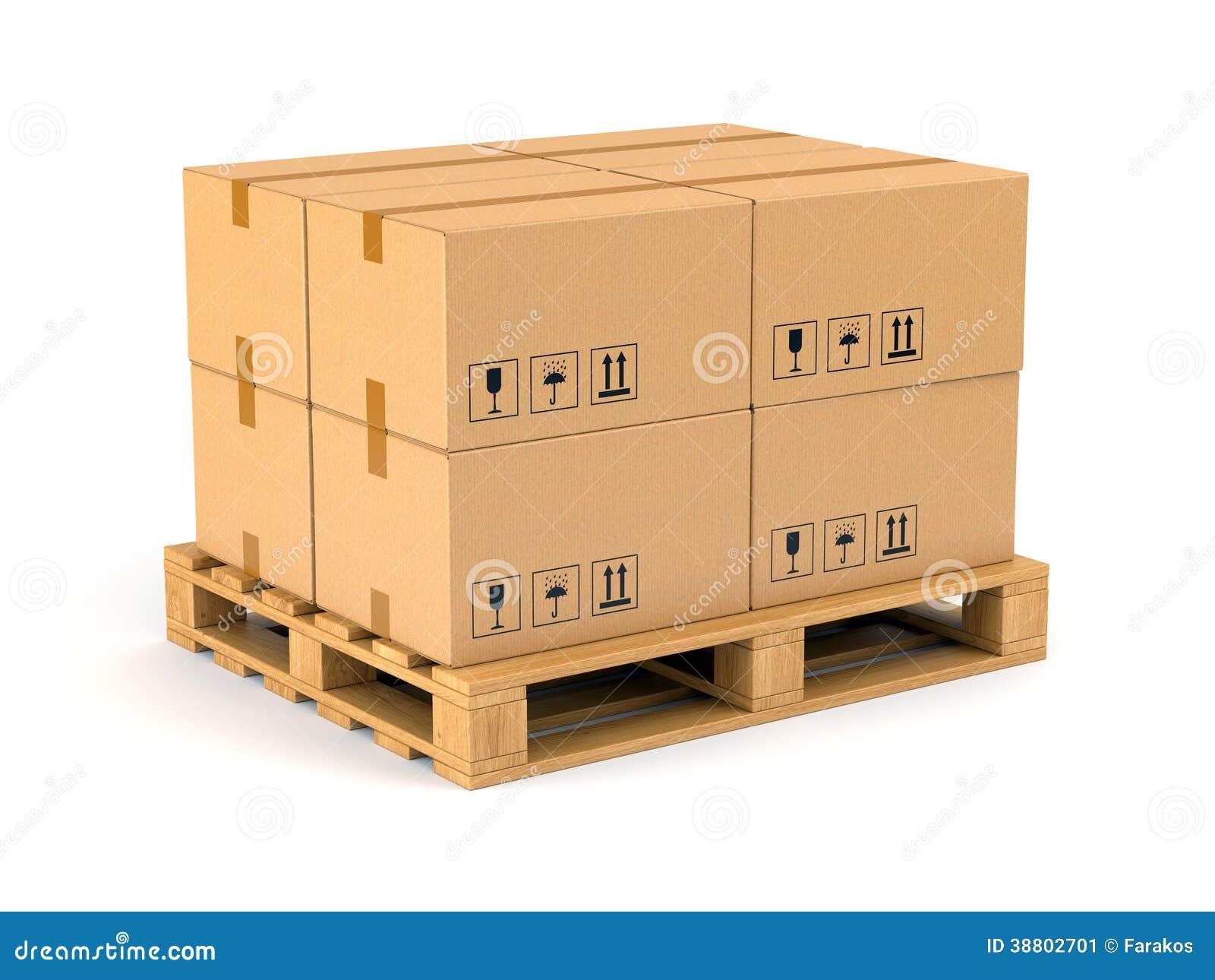 Caixas de cartão na pálete de madeira isolada no fundo branco  #B86B13 1300x1065