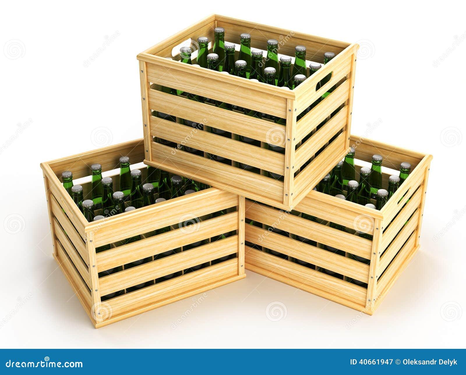 Caixas De Madeira Com As Garrafas De Cerveja Verdes Ilustração Stock  #B17D1A 1300x1065