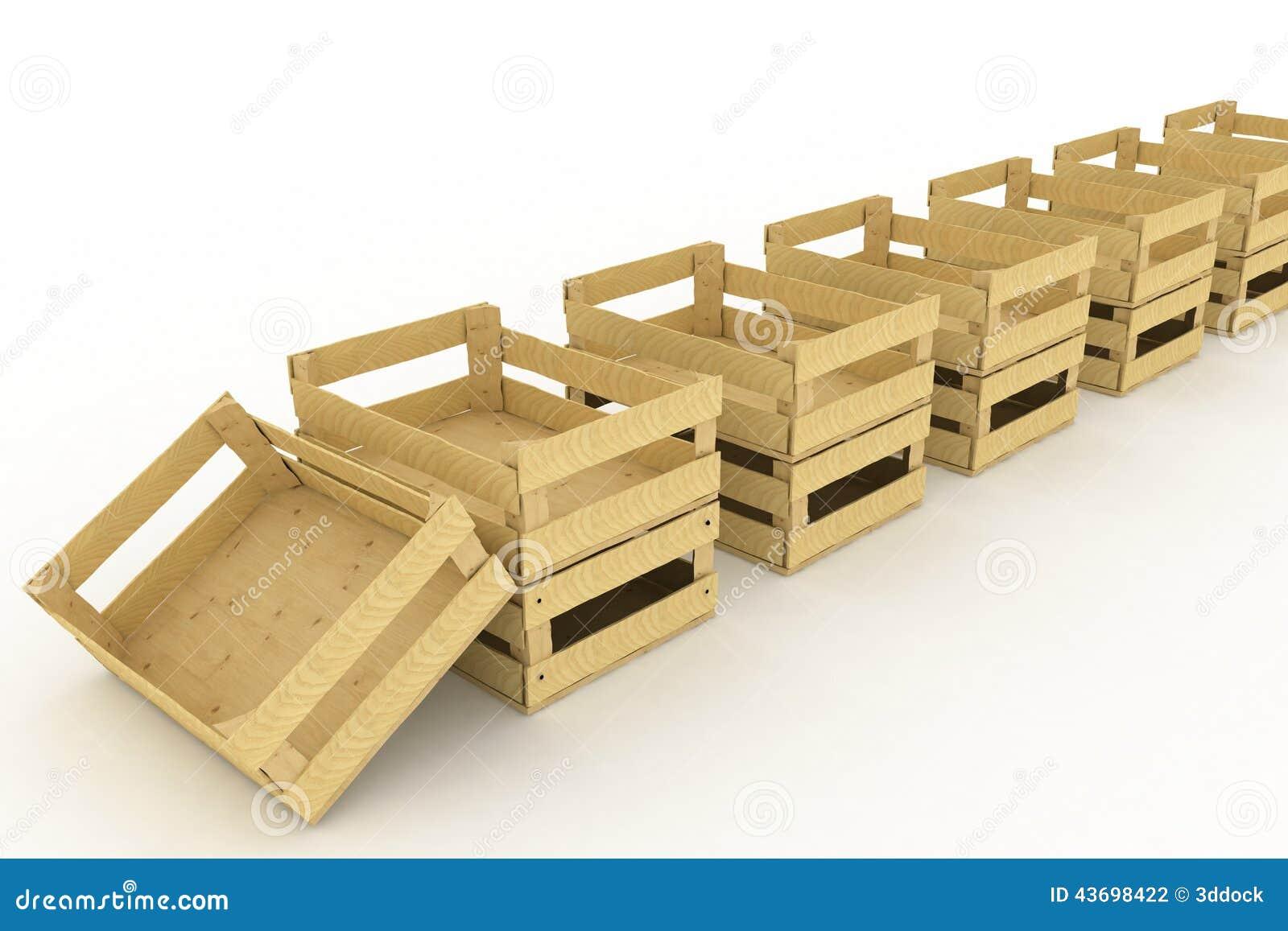 Caixas de madeira vazias Recipientes para frutas e legumes 3d rendem a  #84A526 1300x957