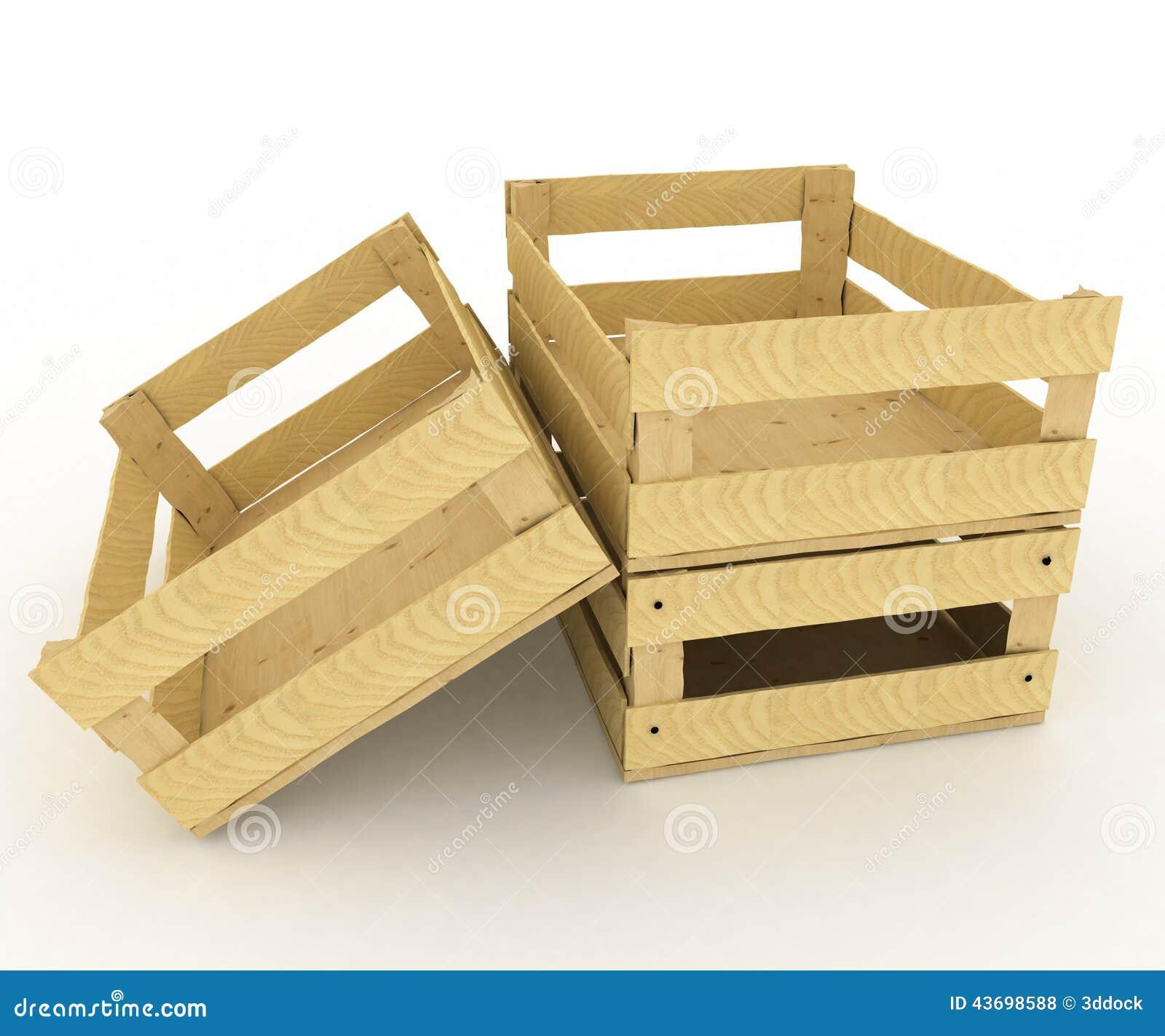 Caixas de madeira vazias Recipientes para frutas e legumes 3d rendem a  #85A724 1300x1173