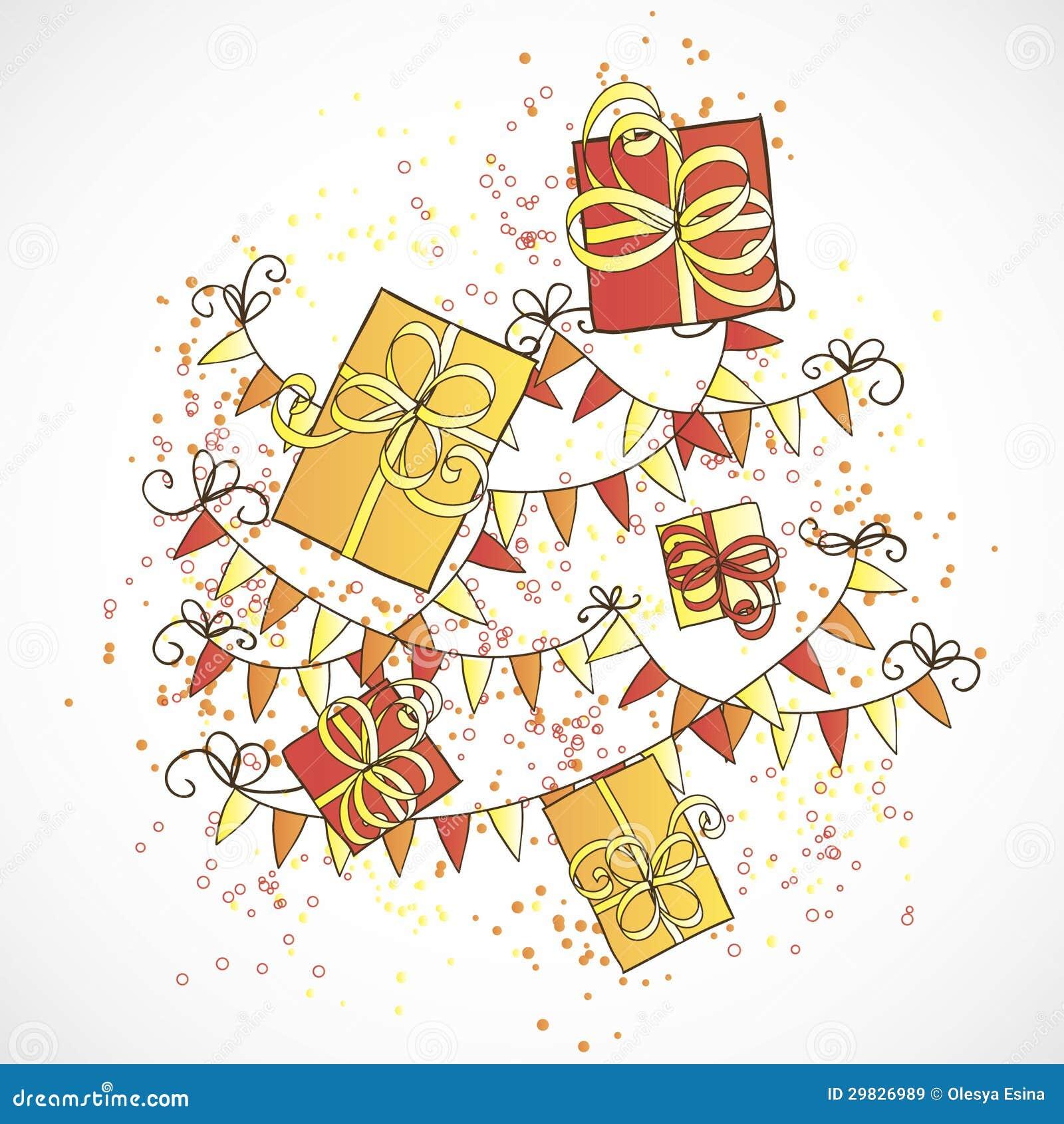 Caixas de presente e flâmulas do feriado