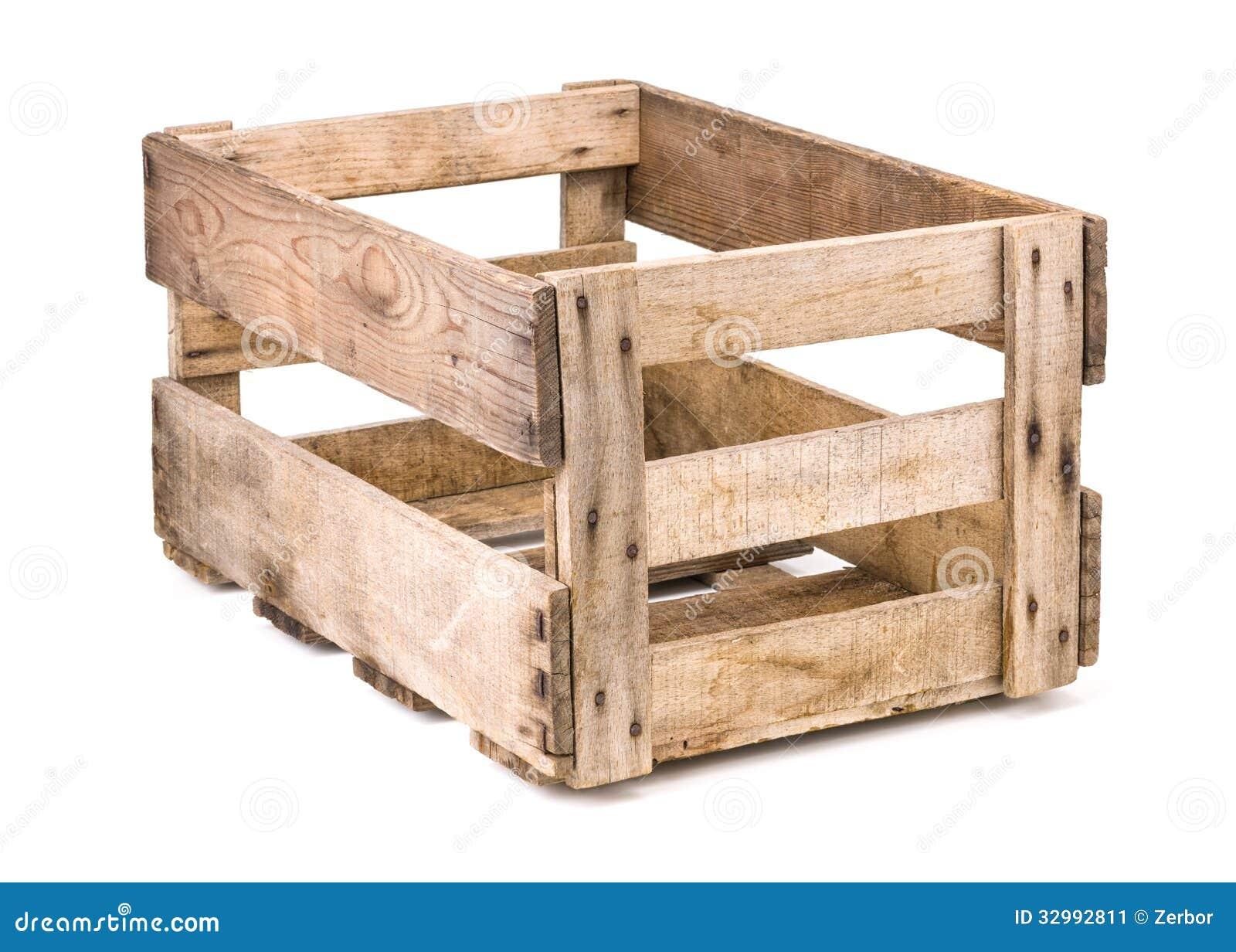 Caj n de madera del vino del vintage en un fondo blanco for Como barnizar un mueble de madera con brocha