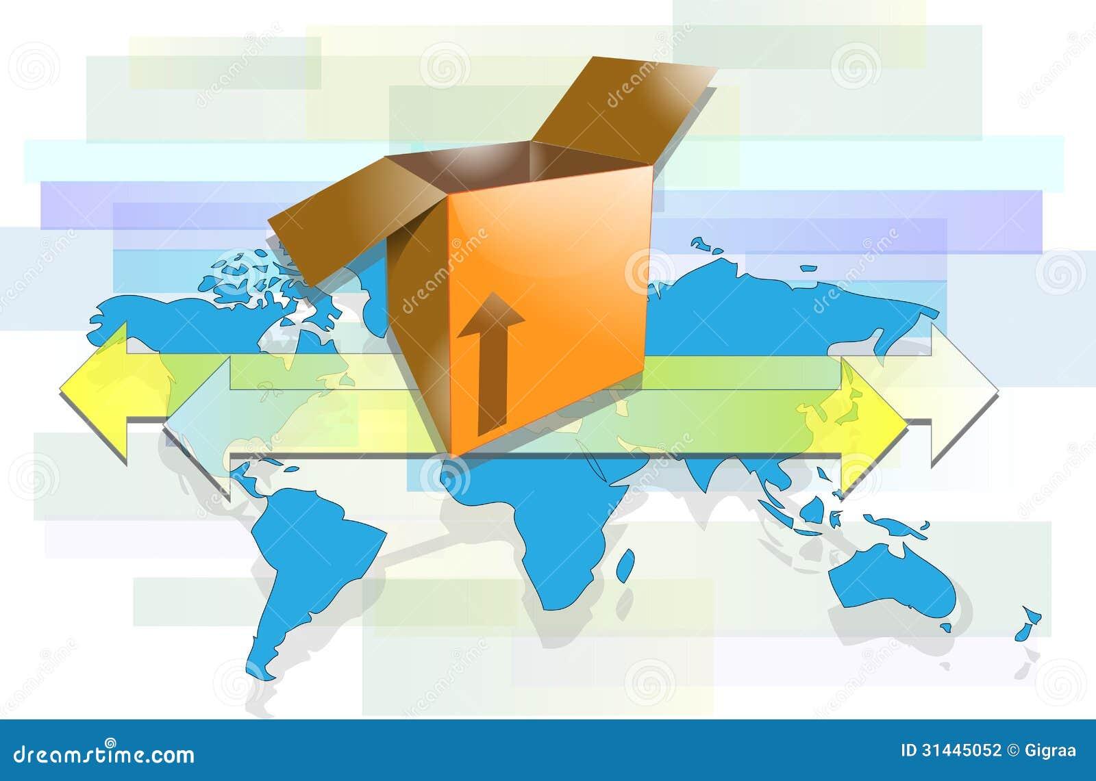 Caja con las flechas y el mapa del mundo