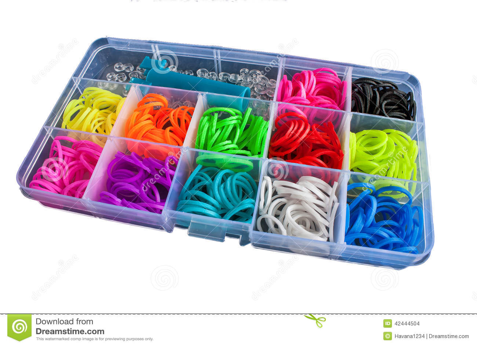 Caja con las gomas coloridas para el telar del arco iris