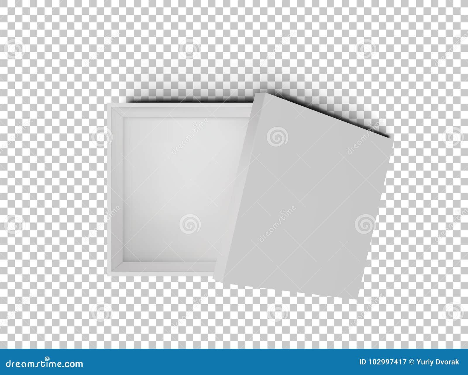 Caja De Cartón Vacía Abierta De Los Cuadrados Del Blanco Aislada ...