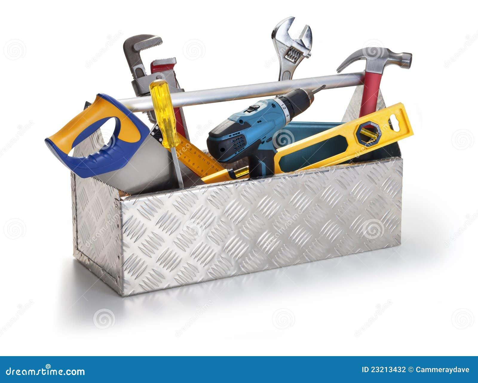 Caja de herramientas con las herramientas